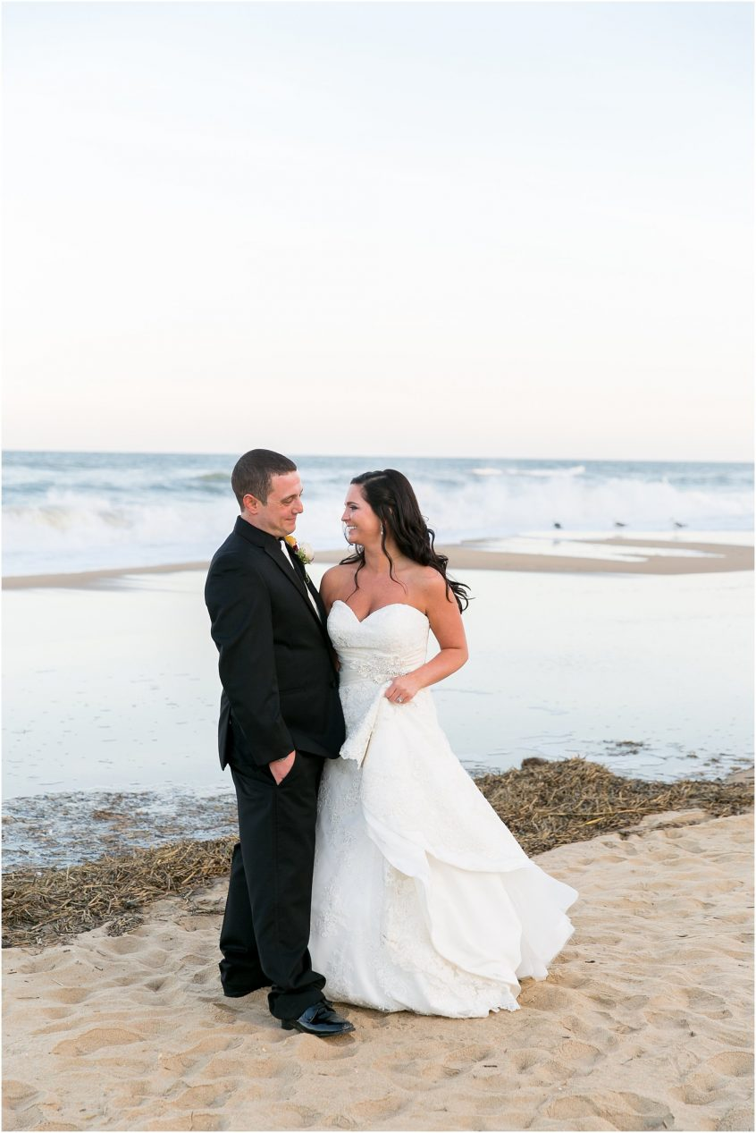 virginia beach holiday inn suites north beach wedding bride and groom portrait on the beach