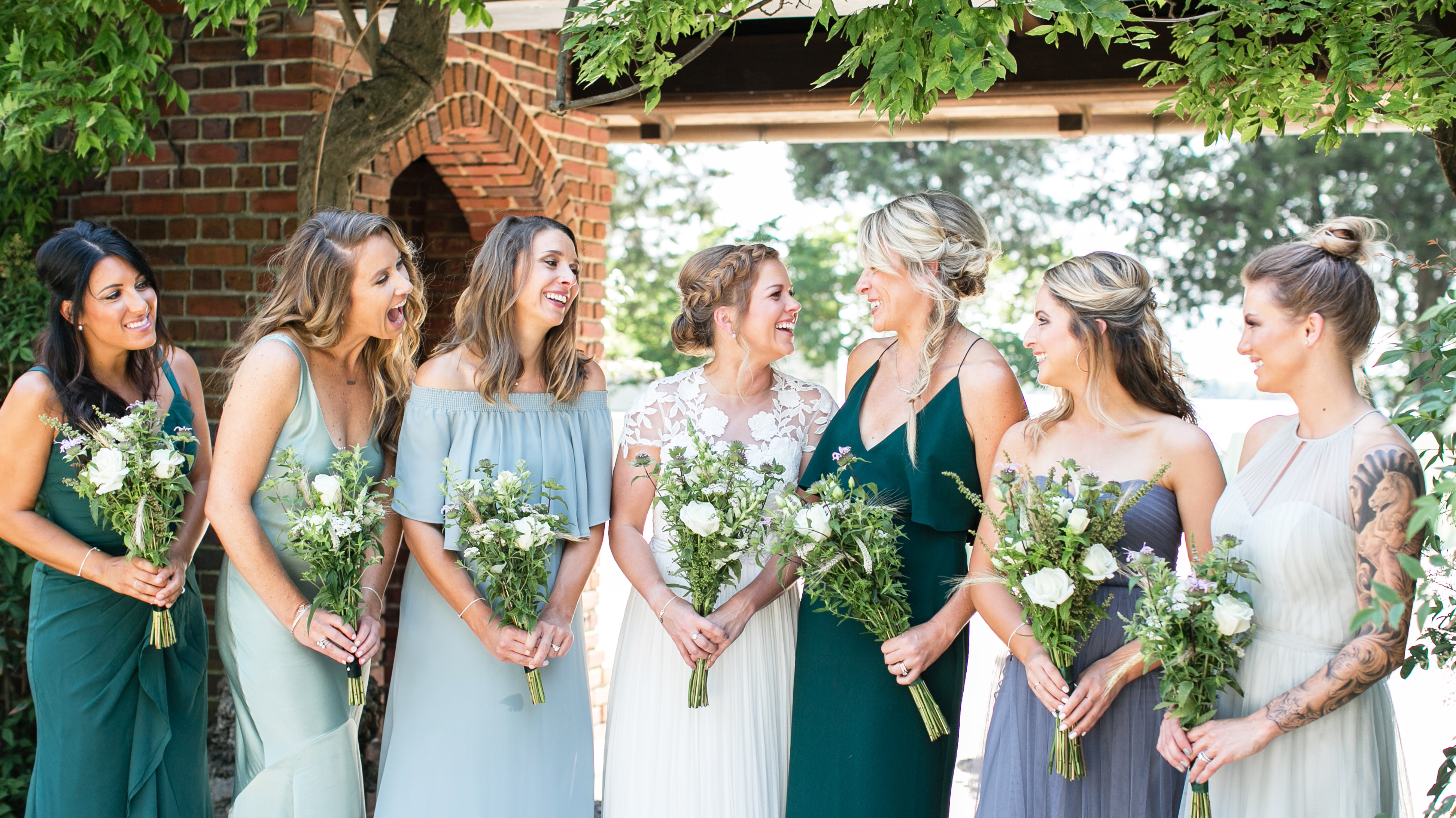 hermitage museum and gardens wedding norfolk virginia bridesmaids with bride portrait