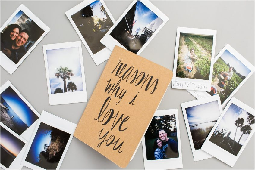 wedding photographer planning her wedding, reasons why i love you notebook for wedding day, polaroid pictures