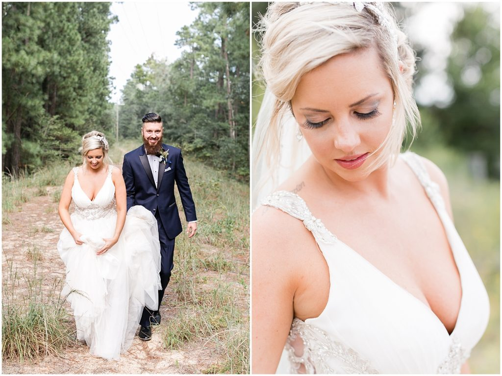 boho bridal portrait and bride and groom portrait at first landing state park in Virginia Beach, Virginia wedding photography
