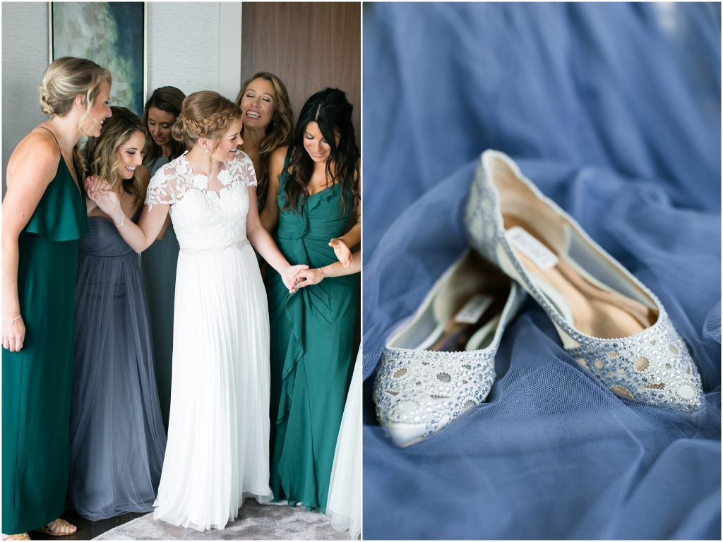 bride getting ready for wedding at The Main Hilton Norfolk, Virginia hotel, Jessica Ryan photography