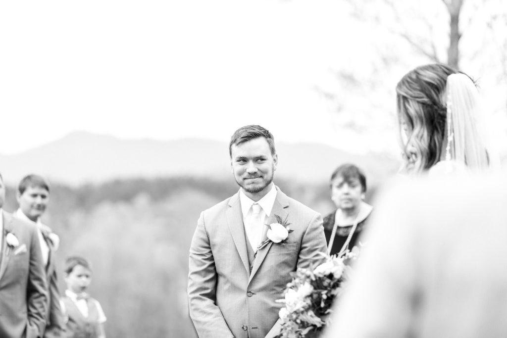 sierra vista virginia wedding ceremony, groom smiling at bride walking down the aisle