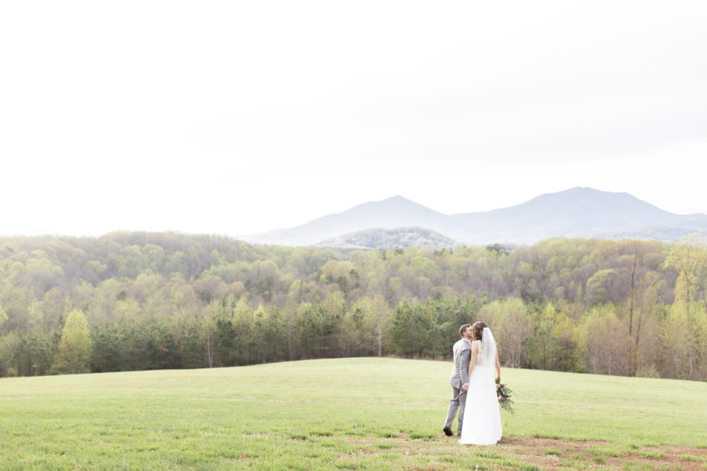 sierra vista virginia wedding, bride and groom portrait in front of the mountains