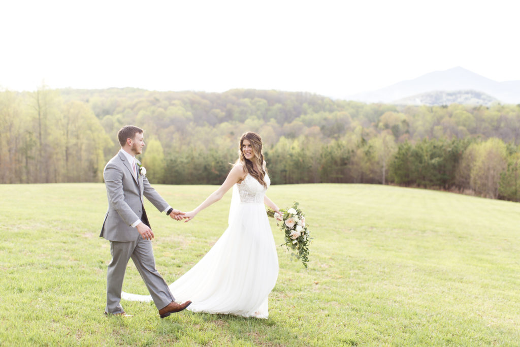 sierra vista virginia wedding, bride and groom walking together portrait