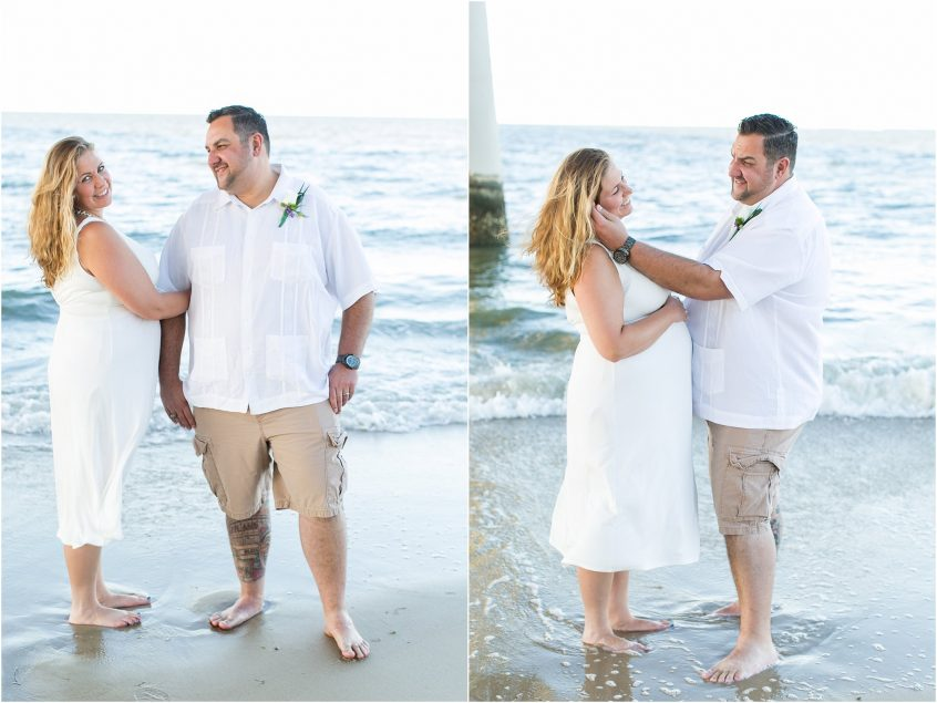 chesapeake bay virginia beach elopement ceremony and bride and groom portrait