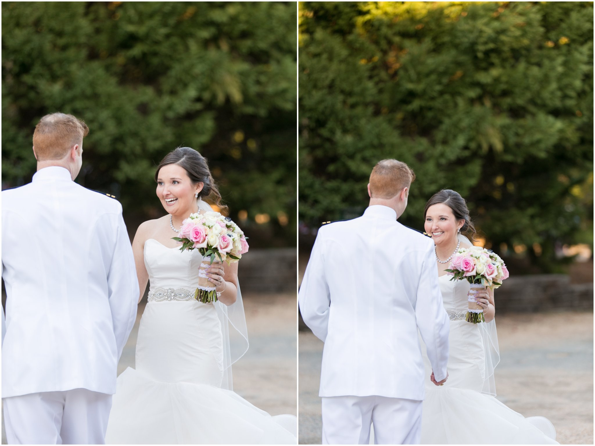 williamsburg winery wedding virginia bride and groom first look portrait