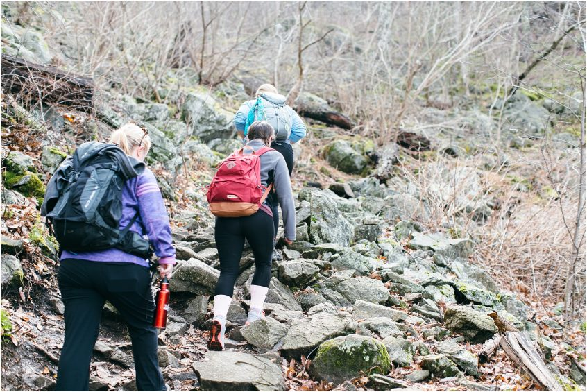 girls who hike sharp top mountain peaks of otter blue ridge mountains