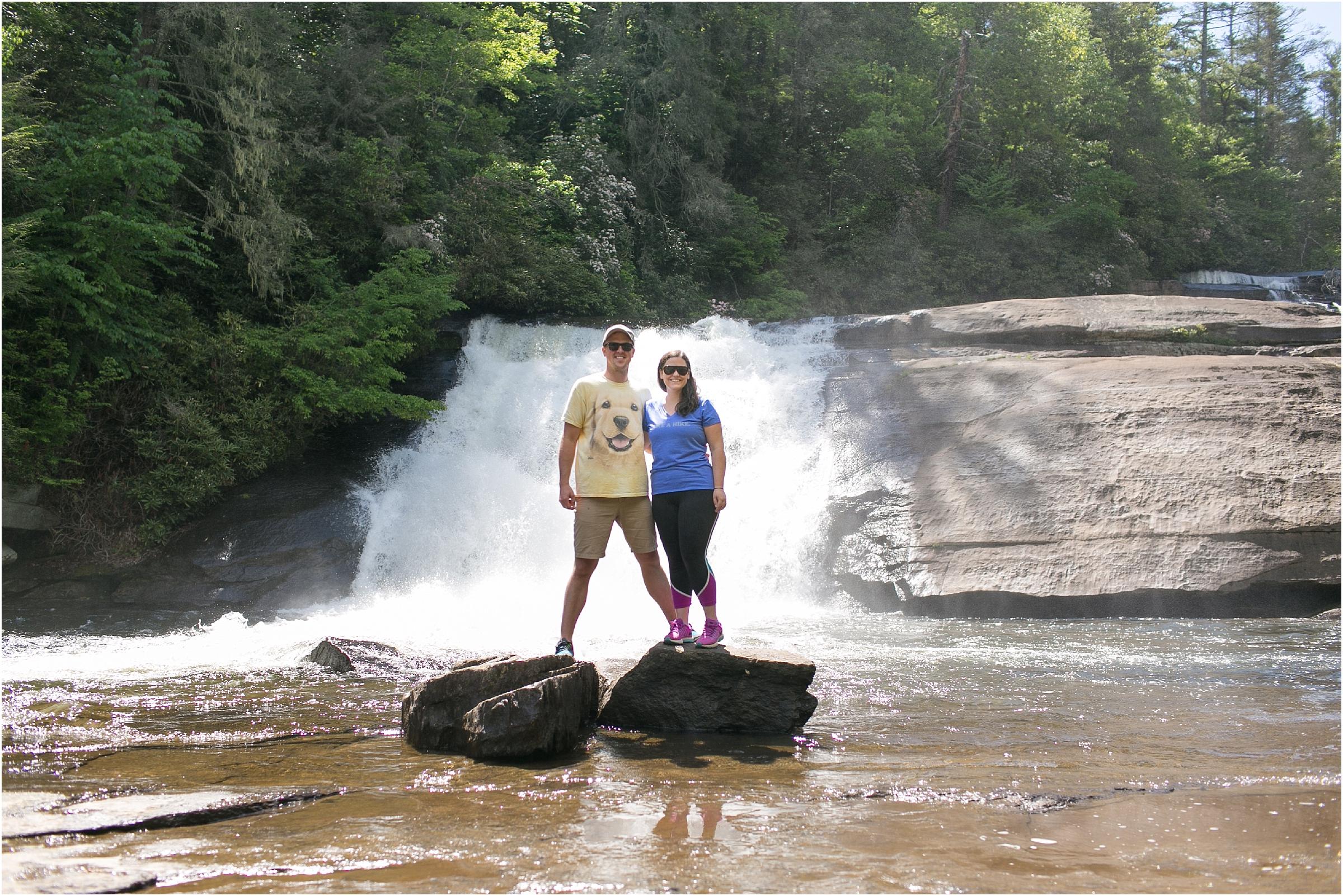 asheville north carolina honeymoon wedding photographer triple falls trail