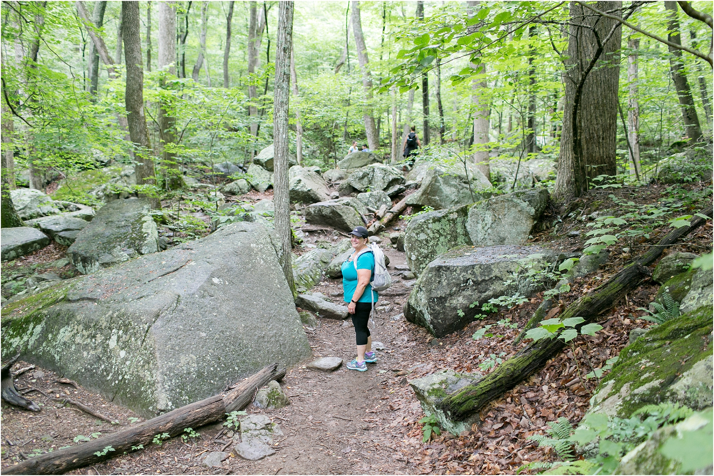 her hike collective hiking at white oak canyon in the Shenandoah national park