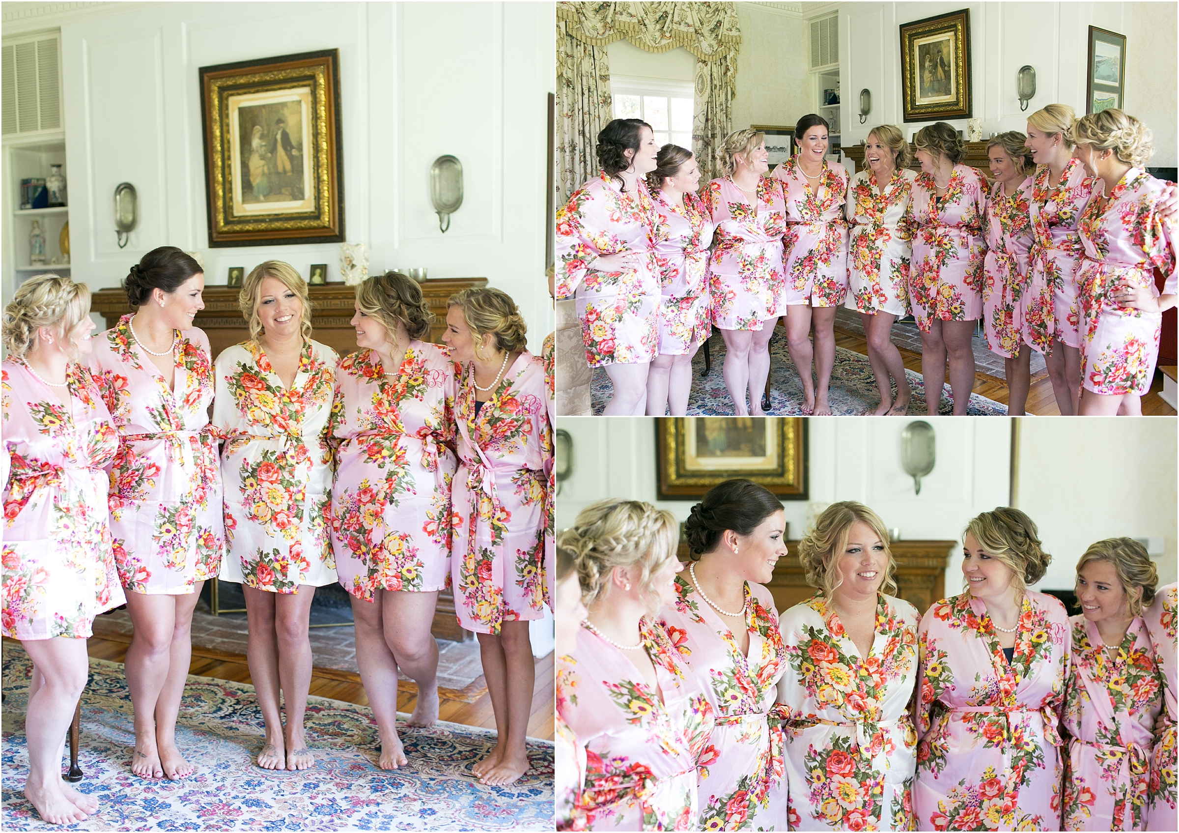 inn at warner hall wedding bride getting ready with bridesmaids