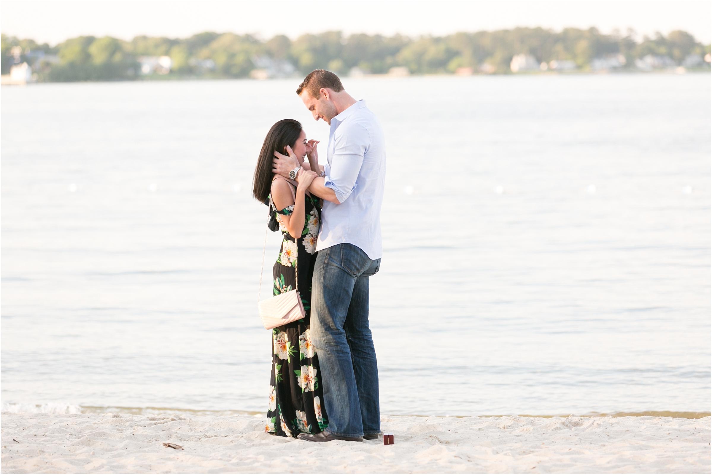 yorktown beach virginia proposal candid portrait