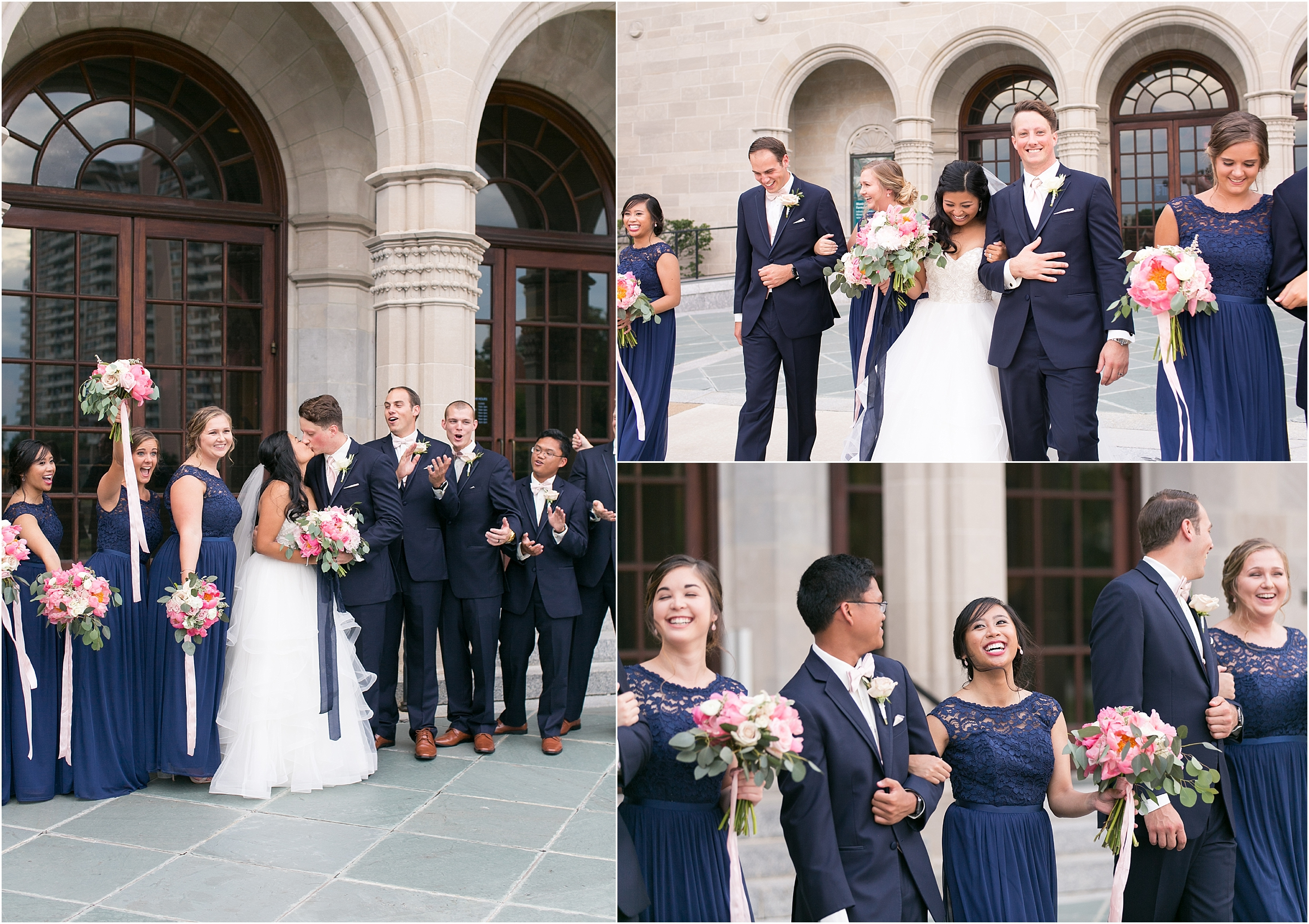 Chrysler Museum of Art grand elegant bridal party portrait