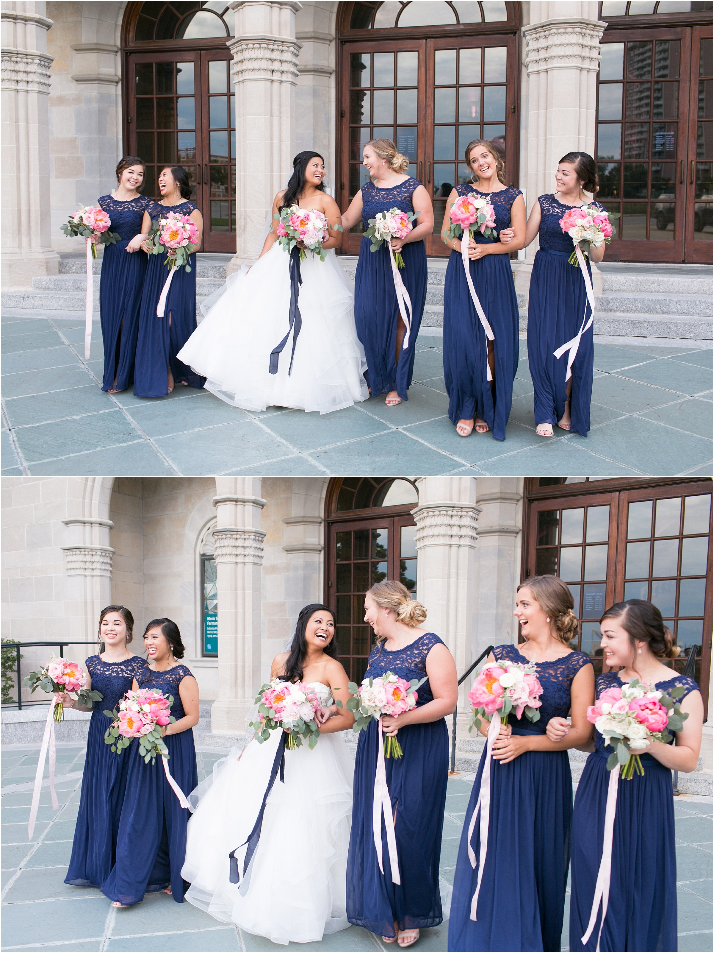 Chrysler Museum of Art grand elegant bridal party portrait courtney inghram events maya couture flawless on site blush tones