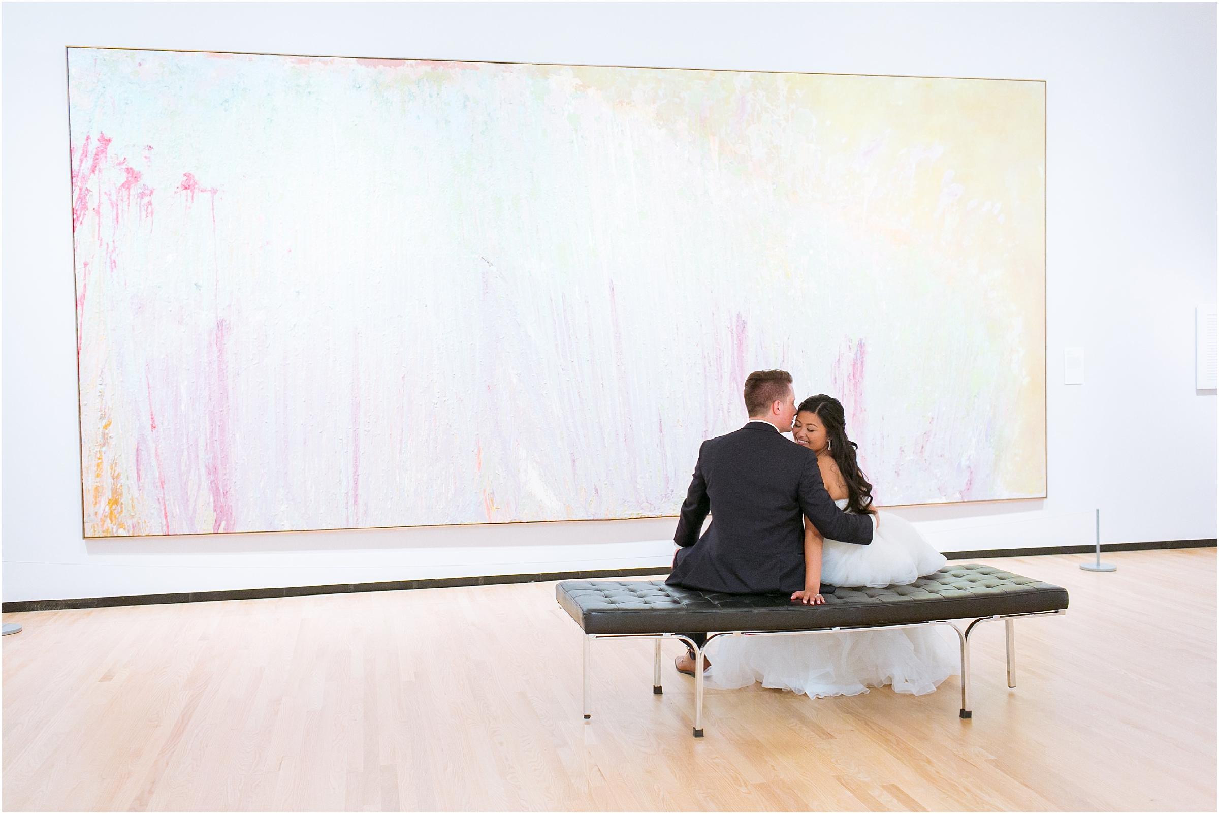 Chrysler Museum of Art elegant wedding portraits in the art gallery