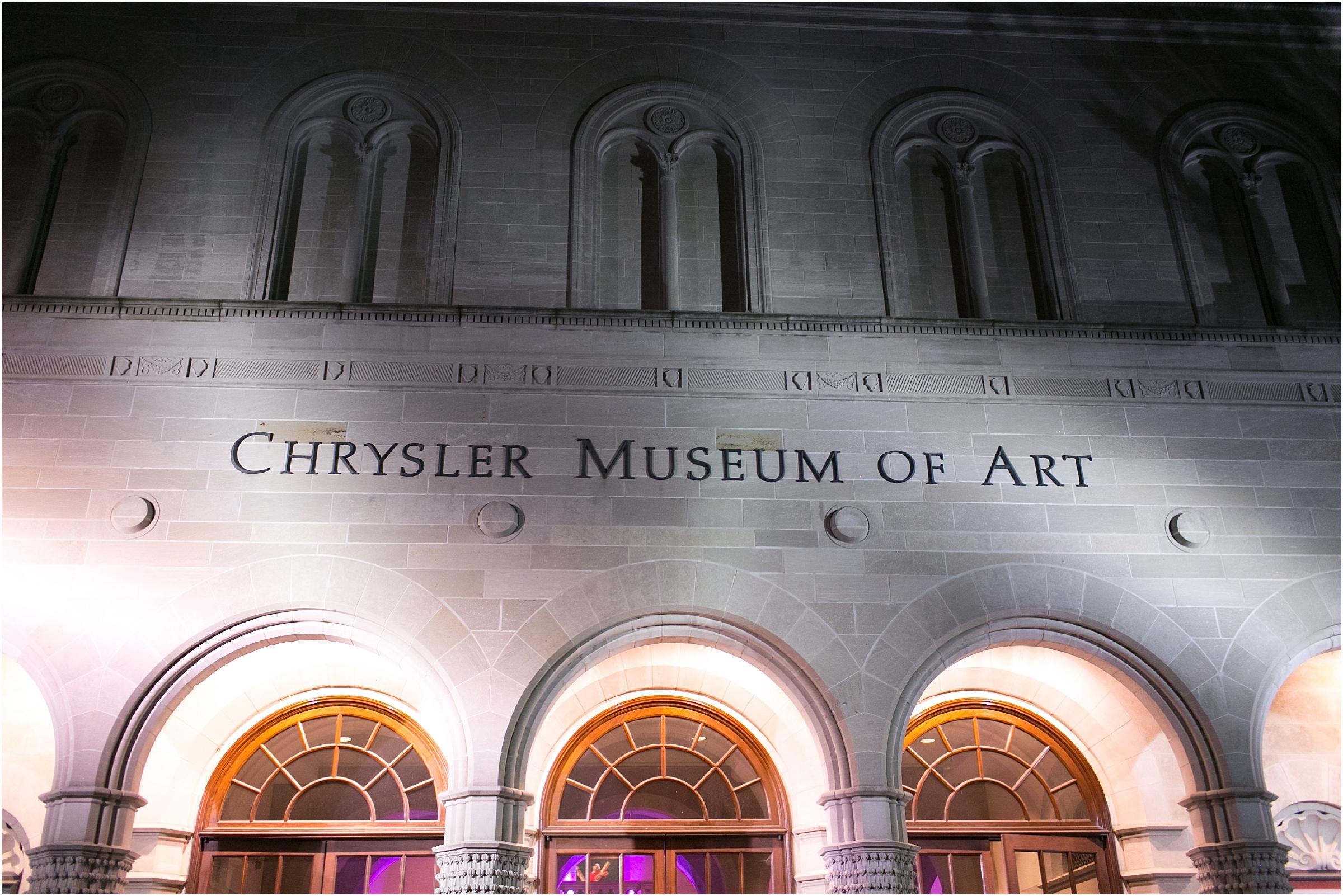 Chrysler Museum of Art elegant wedding reception glow stick exit