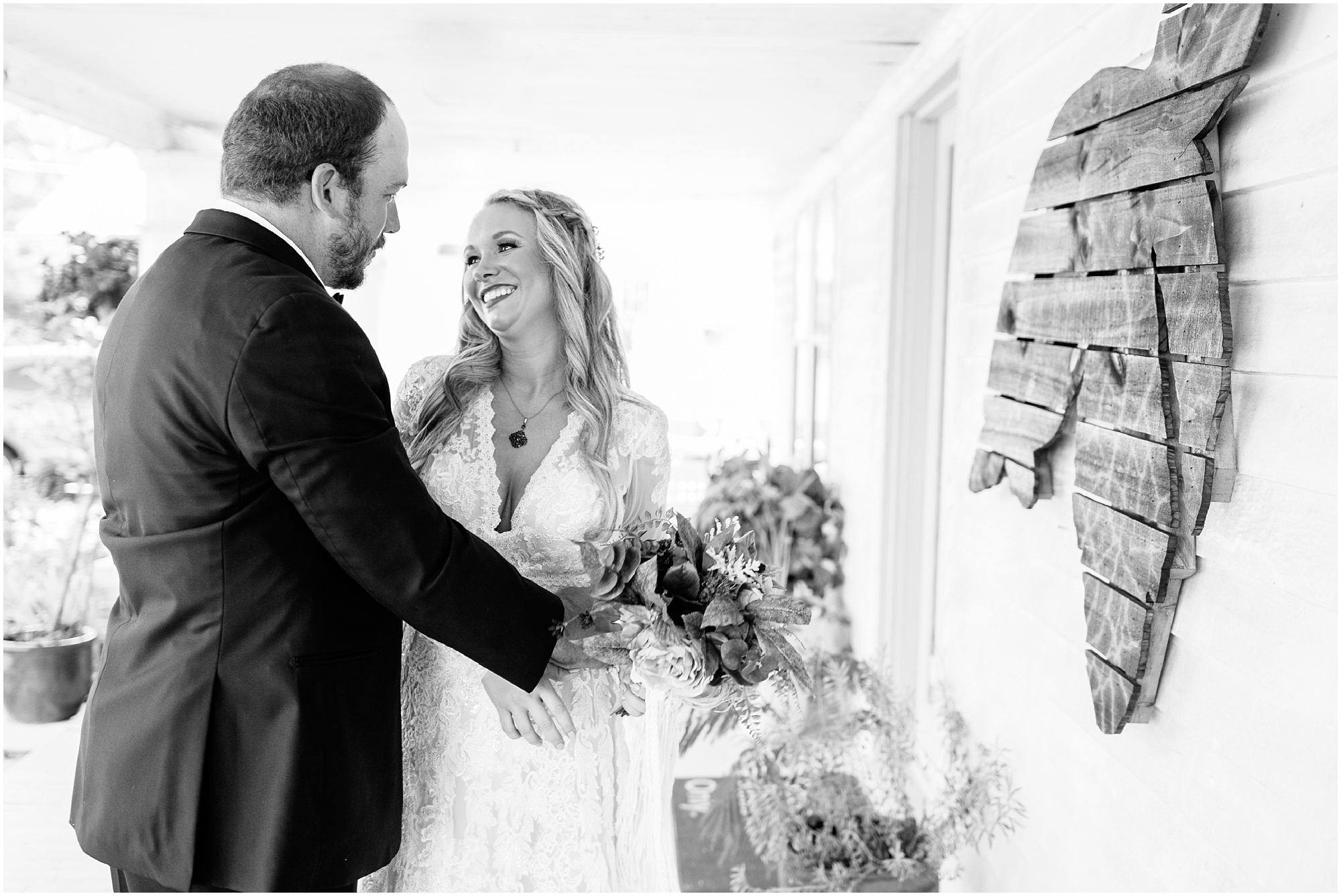 bride and groom first look portraits boho wedding at The Tar Roof virginia beach wedding photography jessica ryan photography