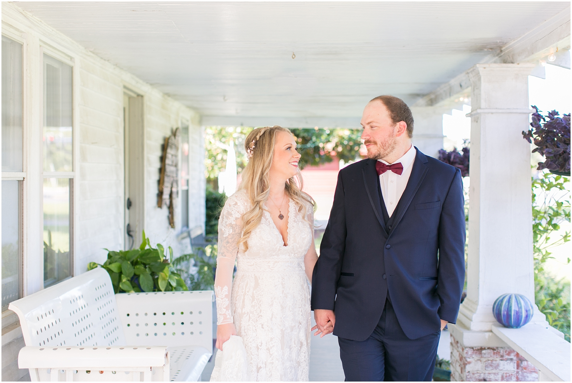 bride and groom on their wedding day photography boho wedding at The Tar Roof virginia beach wedding photography jessica ryan photography