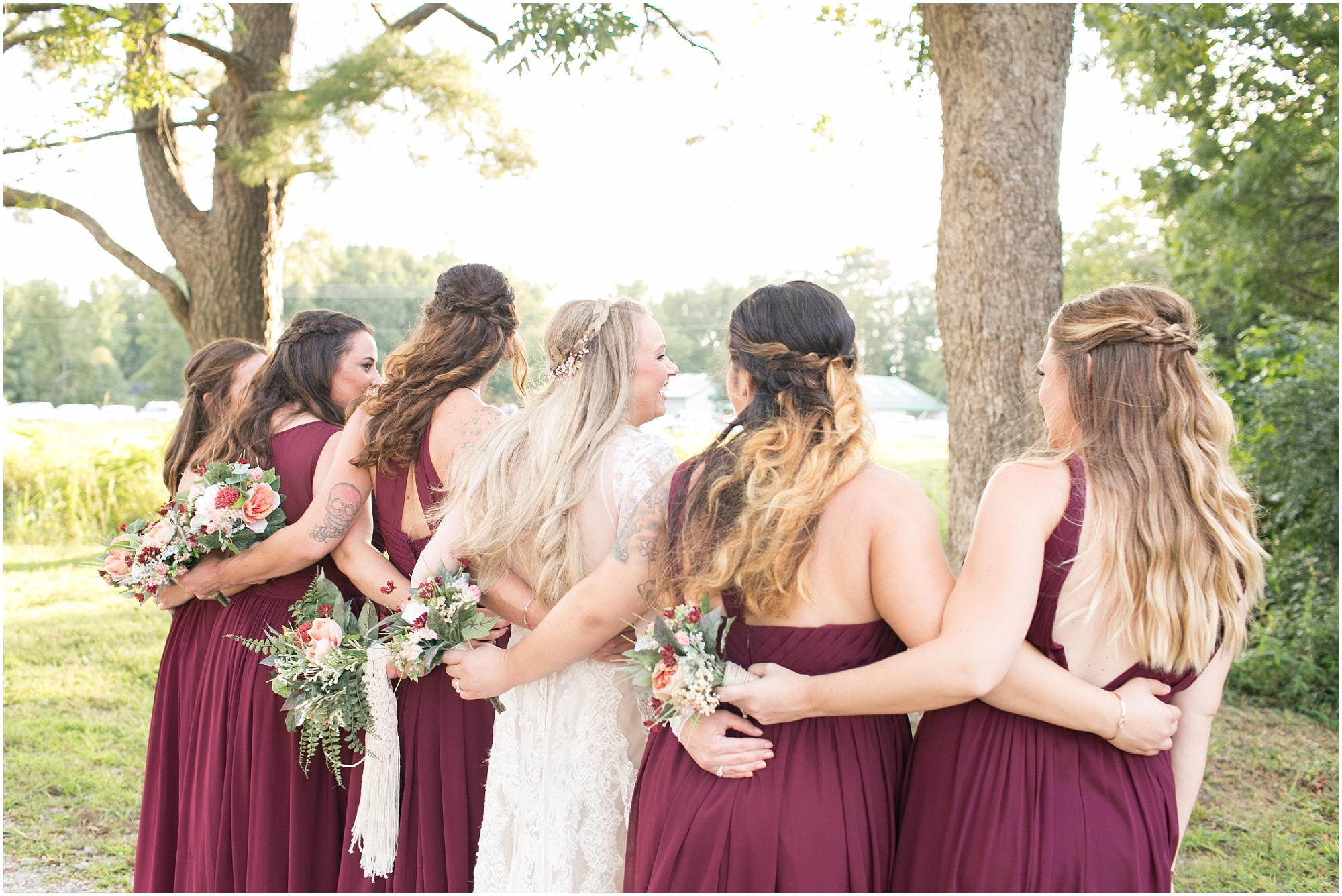 boho bride and bridesmaids on her wedding day photography boho wedding at The Tar Roof virginia beach wedding photography jessica ryan photography