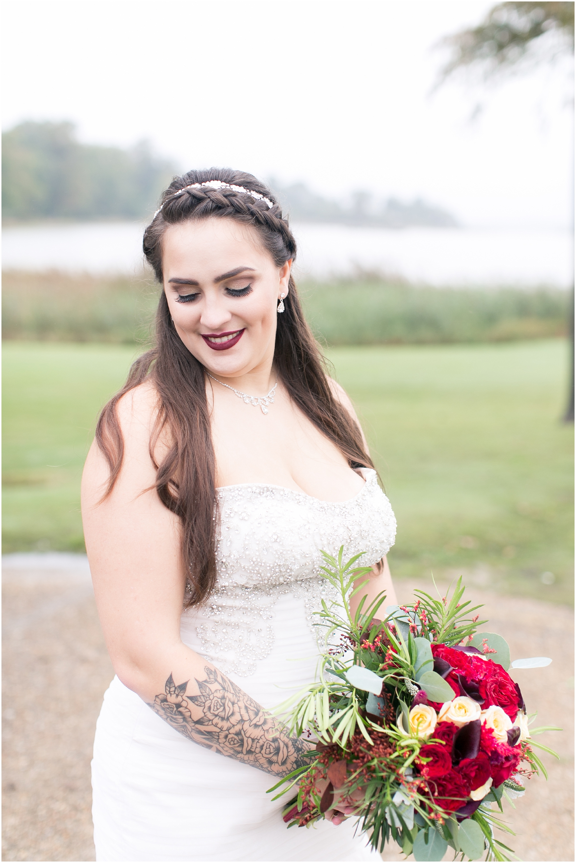 here and now bridal wedding dress, studio i do groom, suit, gourmet gang, fall wedding flowers, bailey galifant makeup artist and hair stylist, obici house wedding in suffolk virginia, virginia wedding photographer