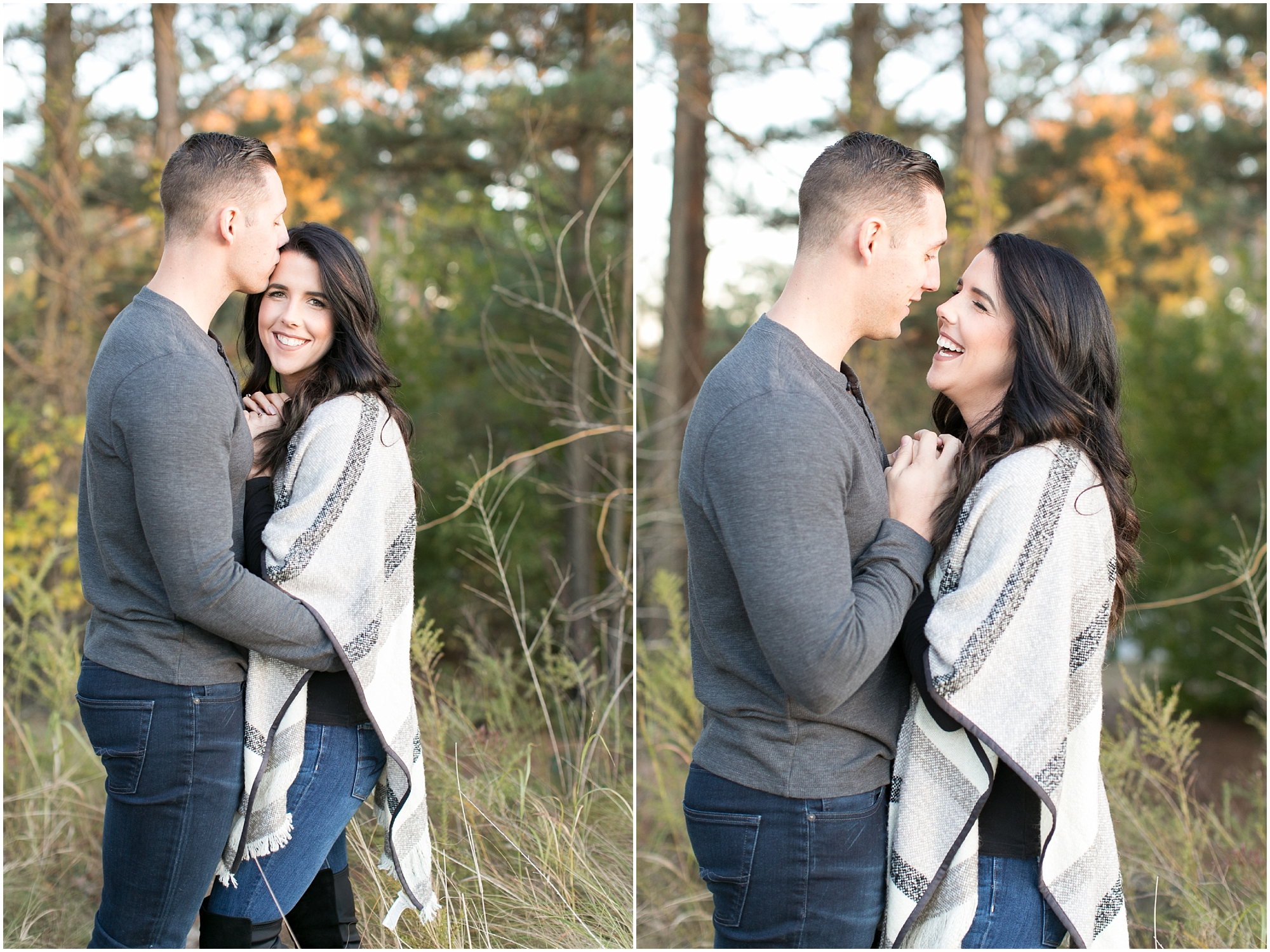 outdoorsy and adventurous couple portraits in first landing state park virginia