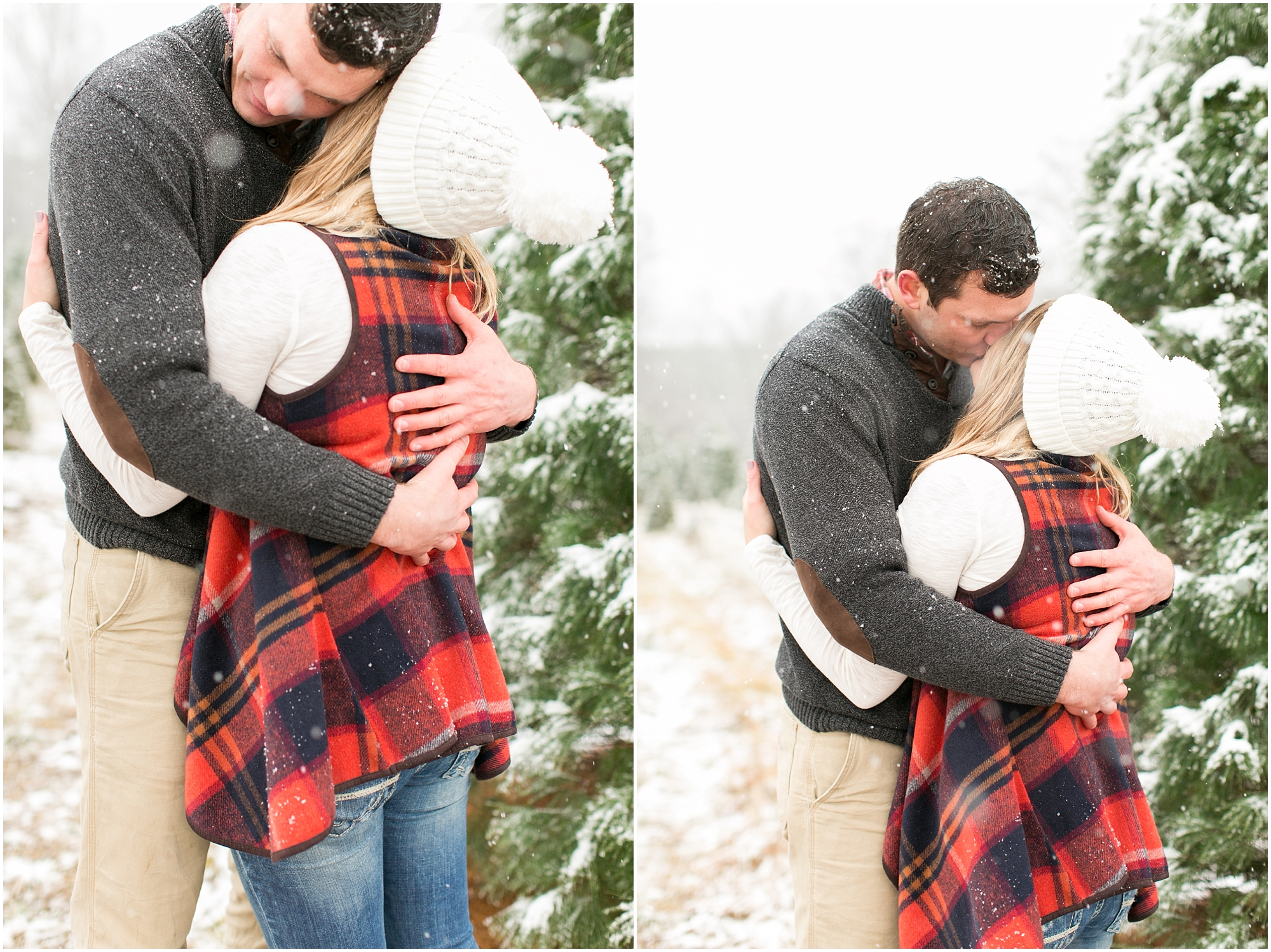 belmont christmas tree farm engagement photography