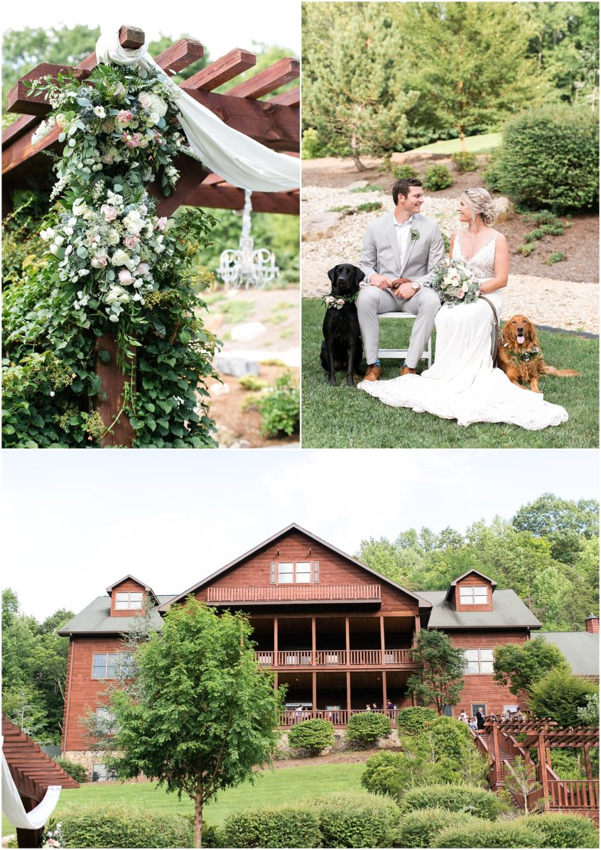 house mountain inn wedding lexington virginia, university florist, dogs at weddings