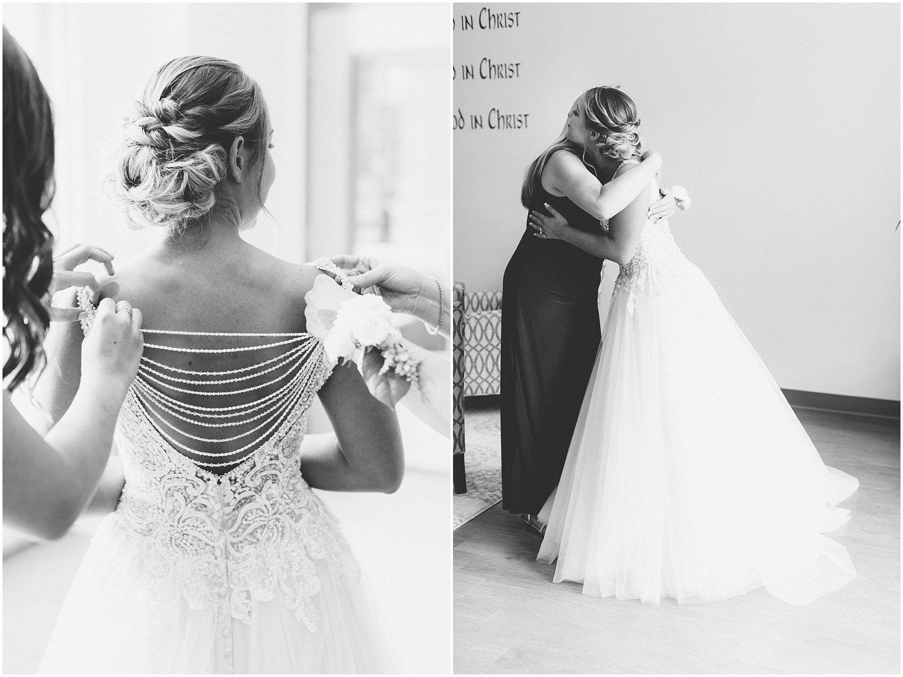 virginia beach wedding photography, candid wedding photography, bride getting into her wedding dress, here and now bridal wedding dress
