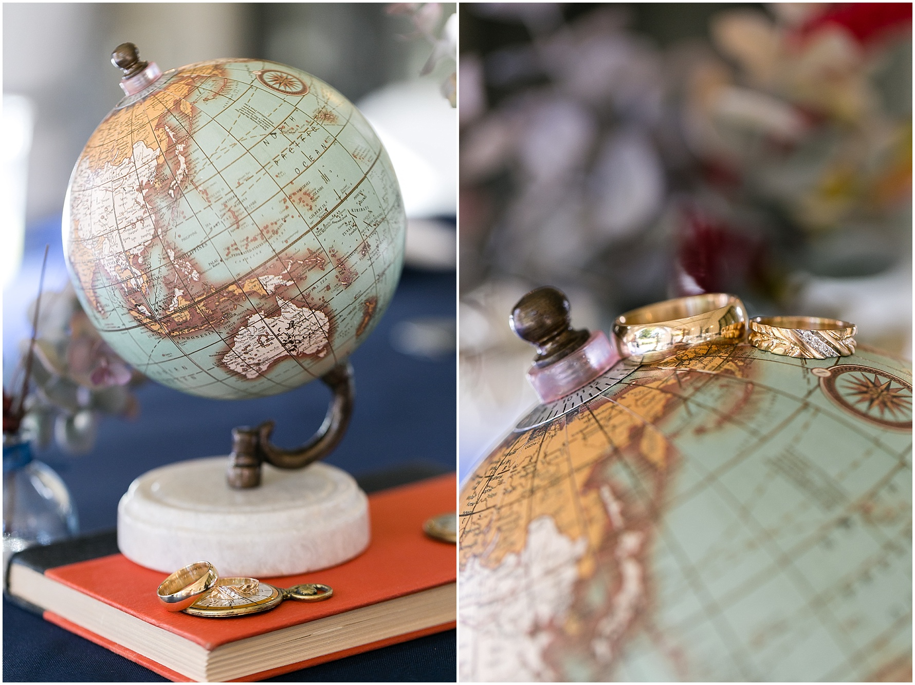 world traveling details, wedding rings on a globe, afternoon wedding at the Mariner's Museum Wedding