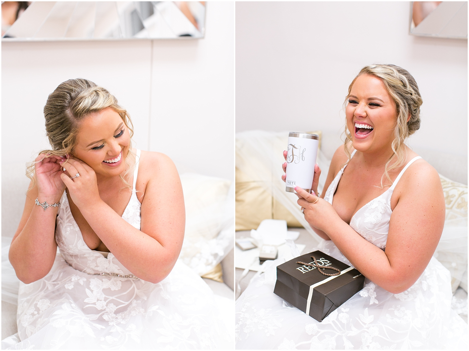 bride getting ready in the bridal suite at norfolk botanical gardens