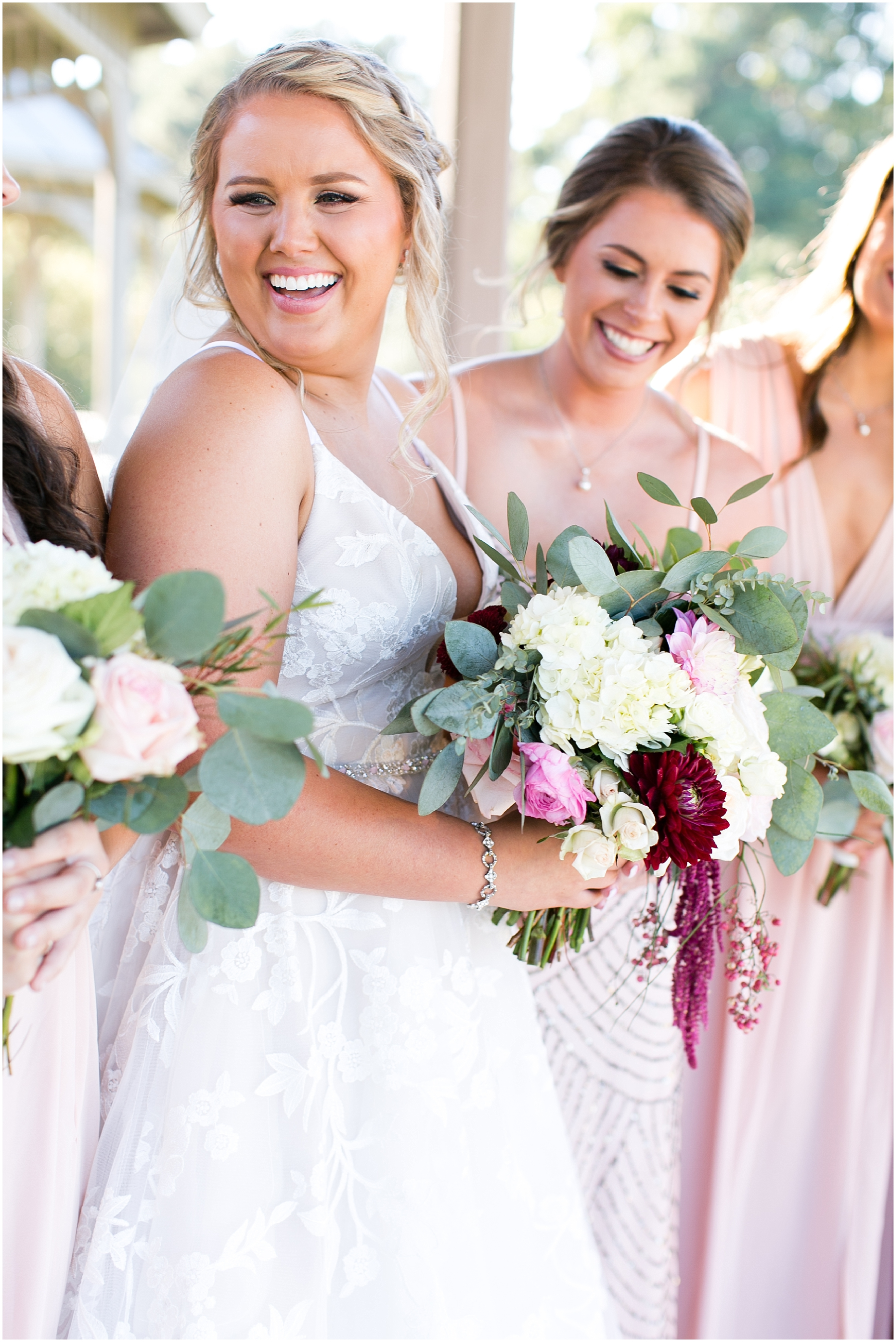 bridal party portraits at norfolk botanical gardens wedding day, jessica ryan photography, fluttering flowers
