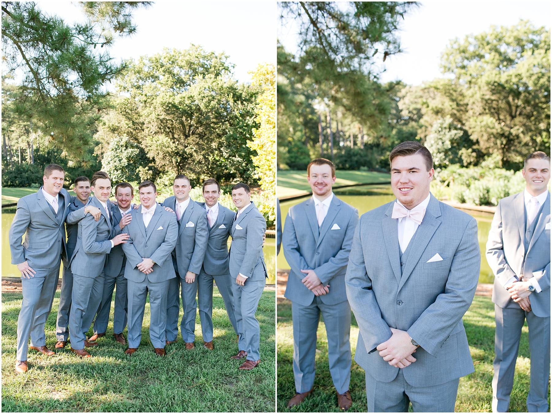 groomsmen portraits at norfolk botanical gardens wedding day, jessica ryan photography