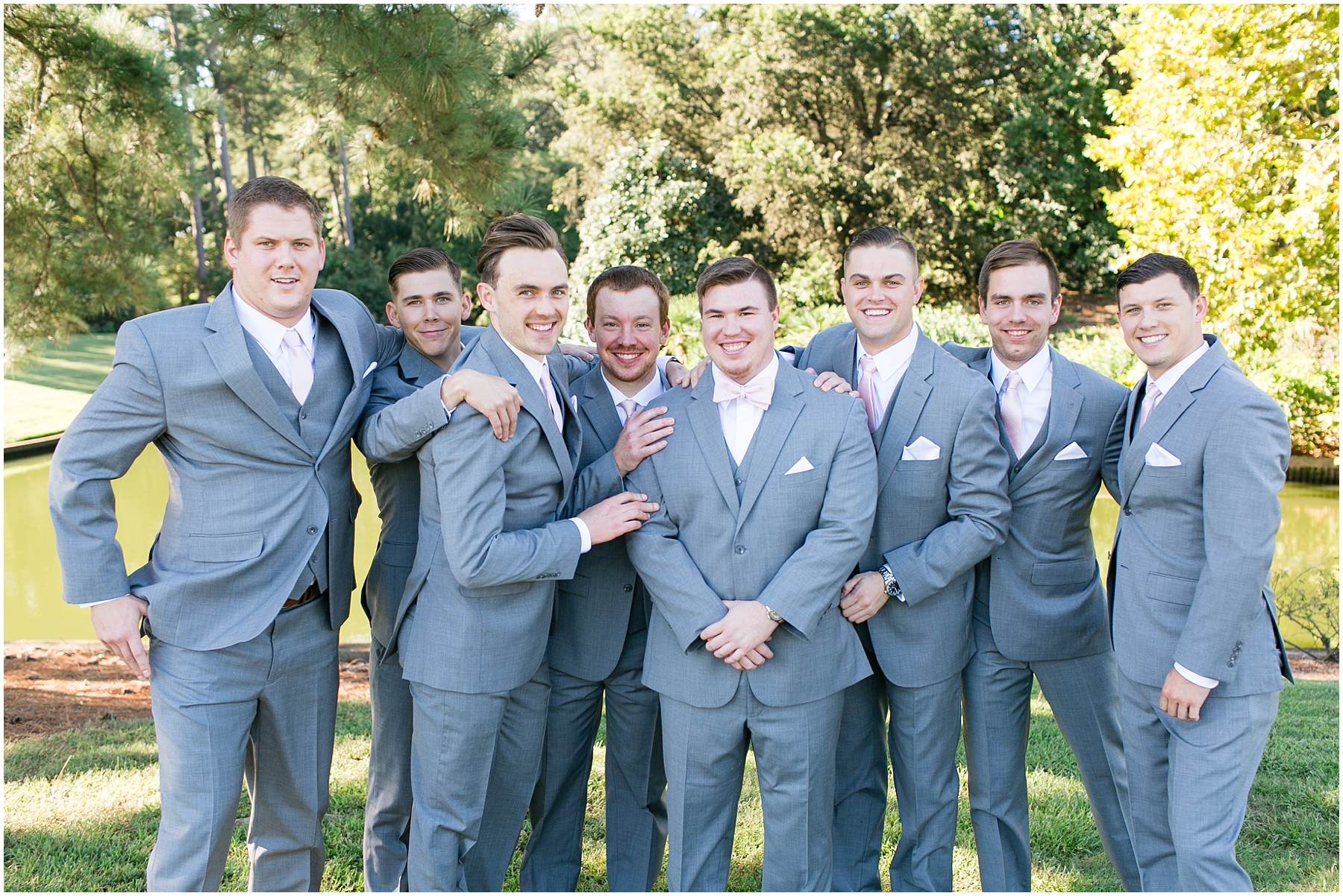 groomsmen portraits at norfolk botanical gardens wedding day, jessica ryan photography