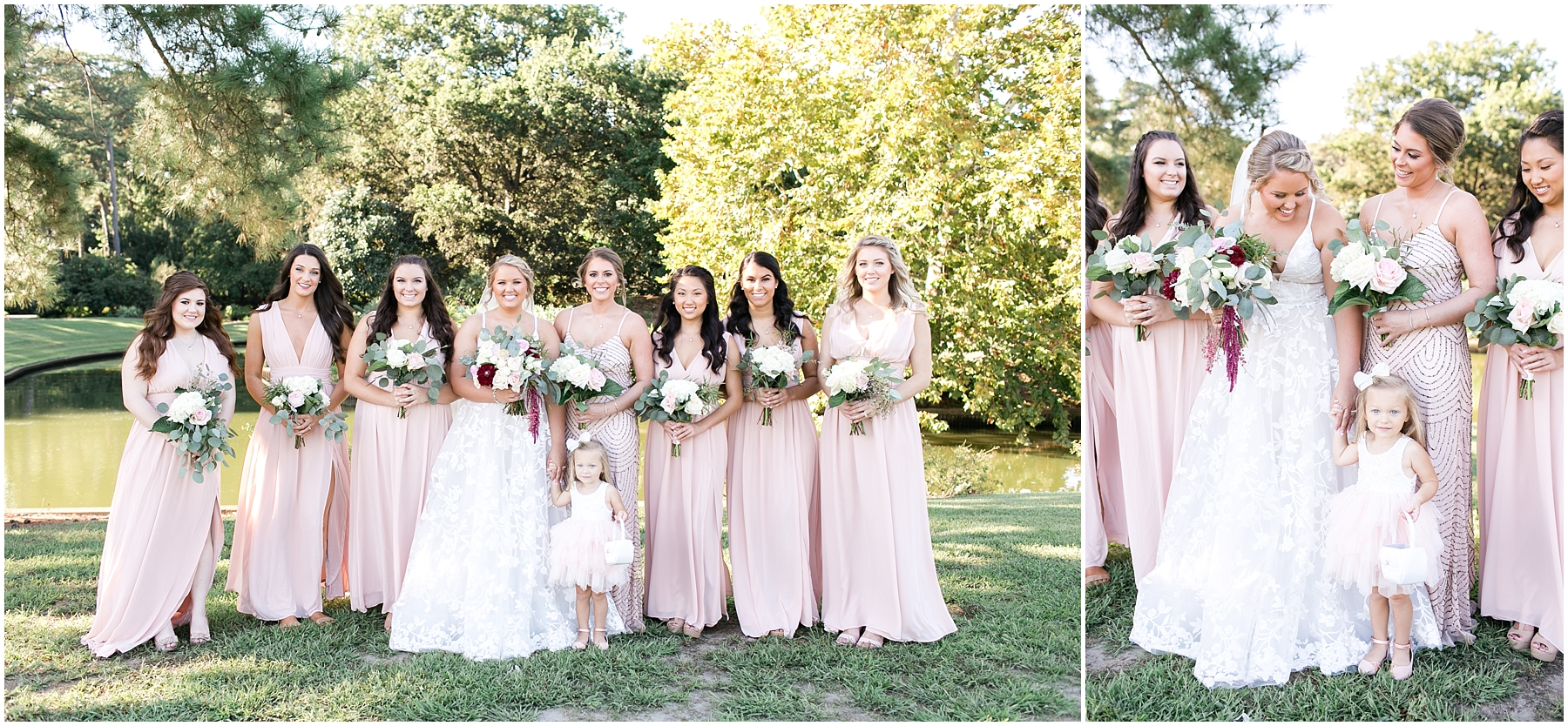 bridal party portraits at norfolk botanical gardens wedding day, jessica ryan photography