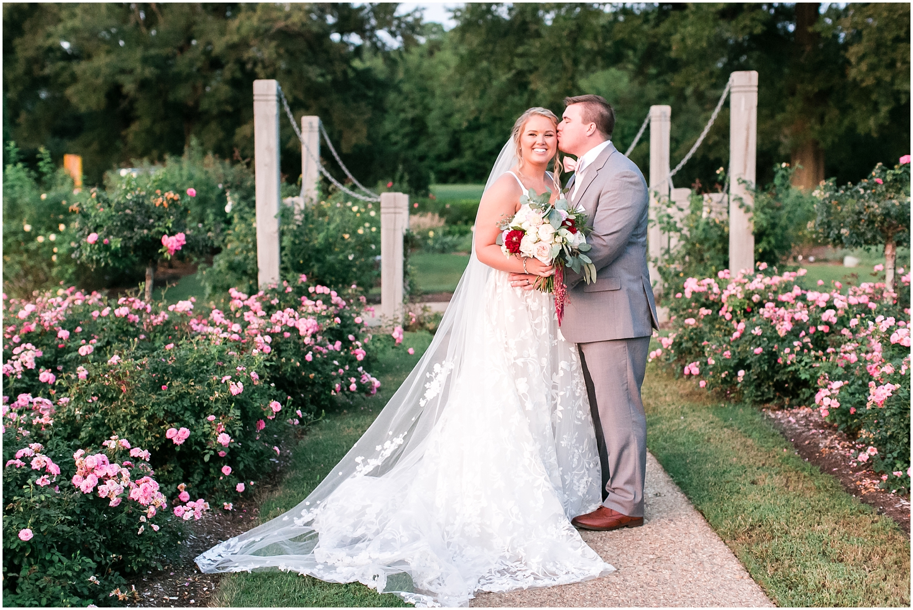 romantic bride and groom portrait at norfolk botanical gardens wedding day, jessica ryan photography, fluttering flowers, jessica ryan photography, studio i do, blush by hayley paige wedding dress, blushtones, flawless onsite,