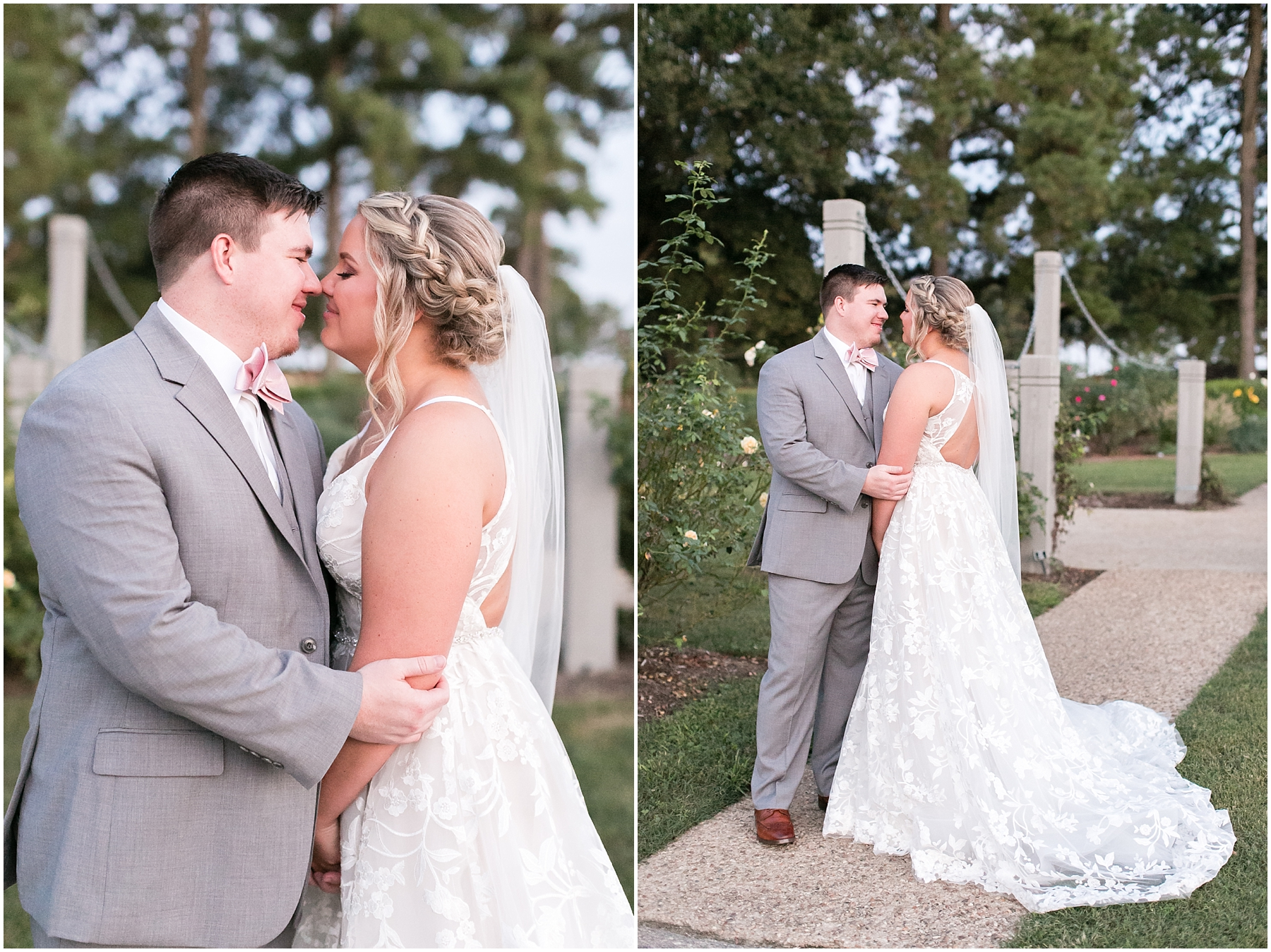 romantic bride and groom portrait at norfolk botanical gardens wedding day, jessica ryan photography, fluttering flowers, jessica ryan photography, studio i do, blush by hayley paige wedding dress, blushtones, flawless onsite, rose garden