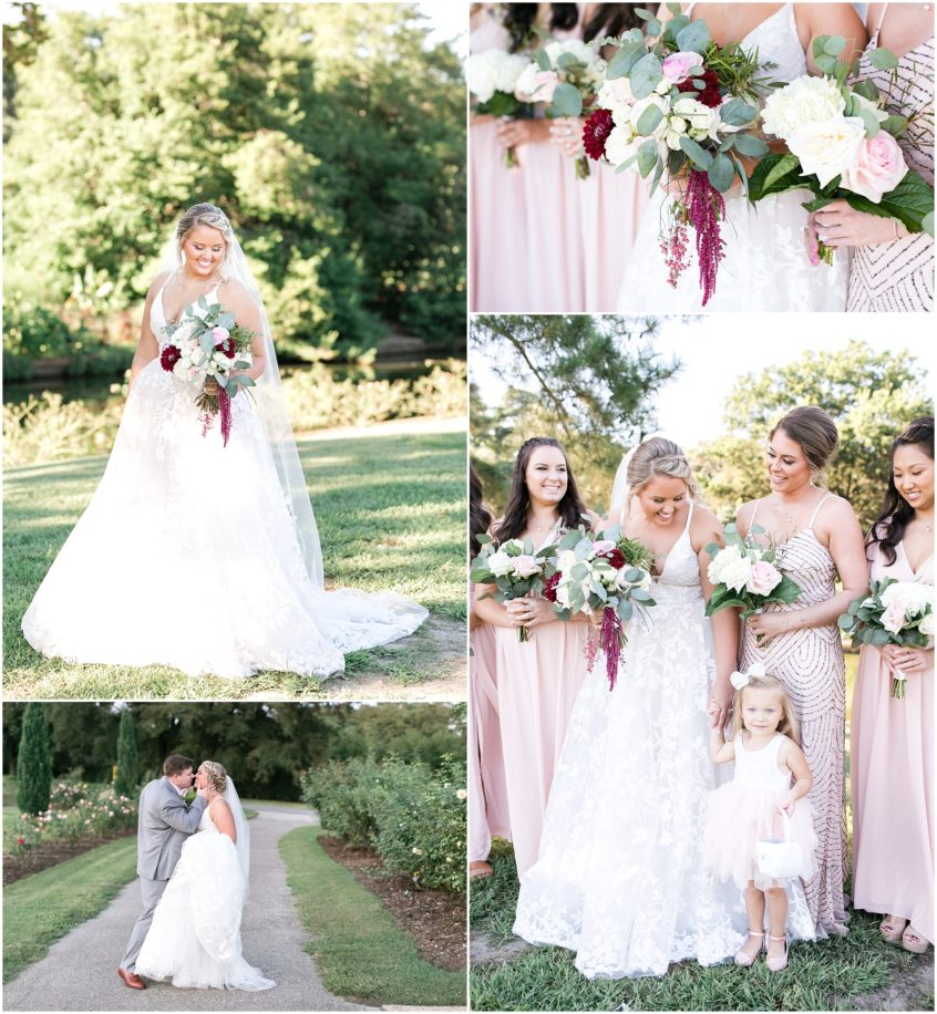 Norfolk Botanical Gardens Wedding in the fall, blush and marsala colors, fluttering flowers florist