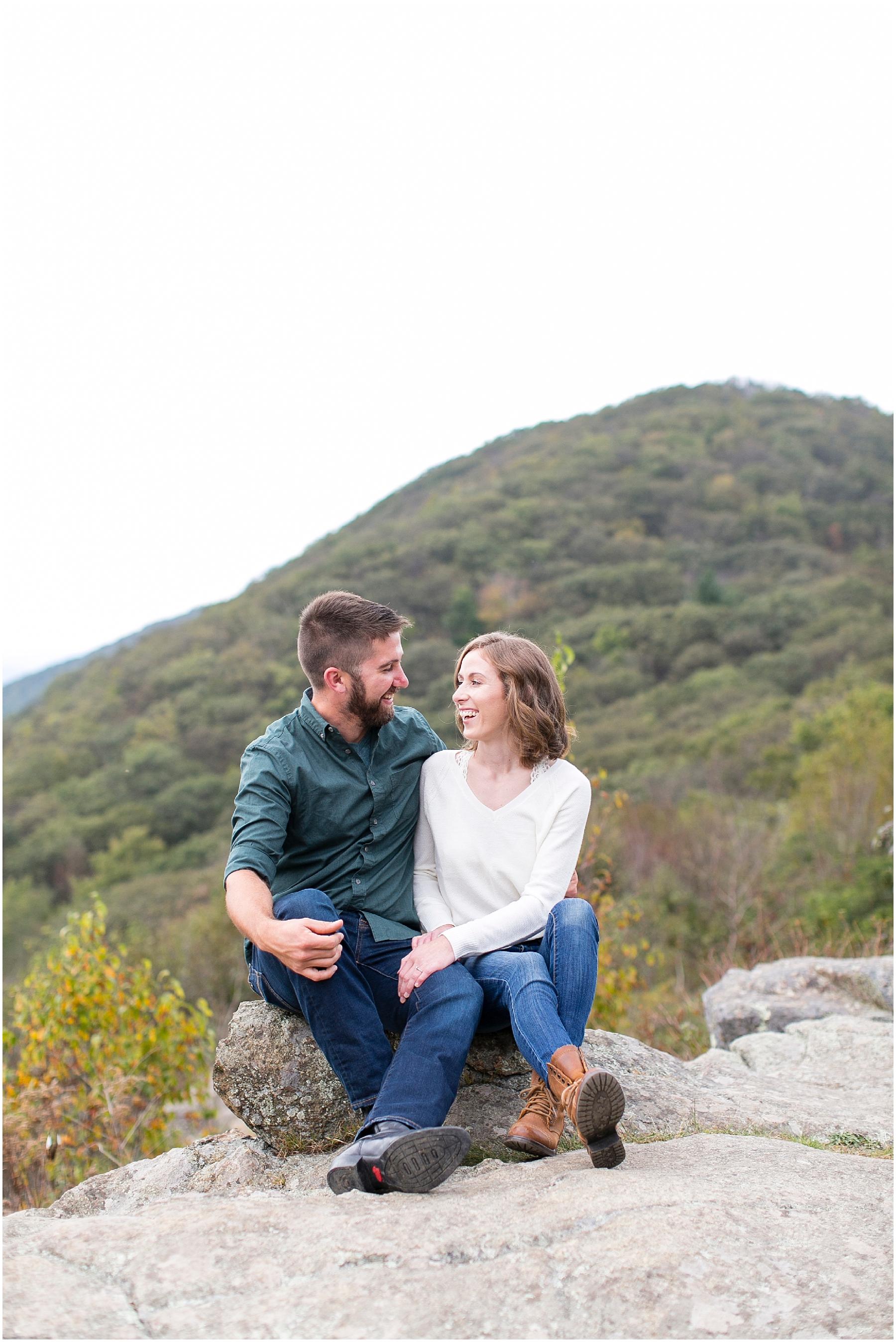skyline drive virginia adventurous couple portraits hiking