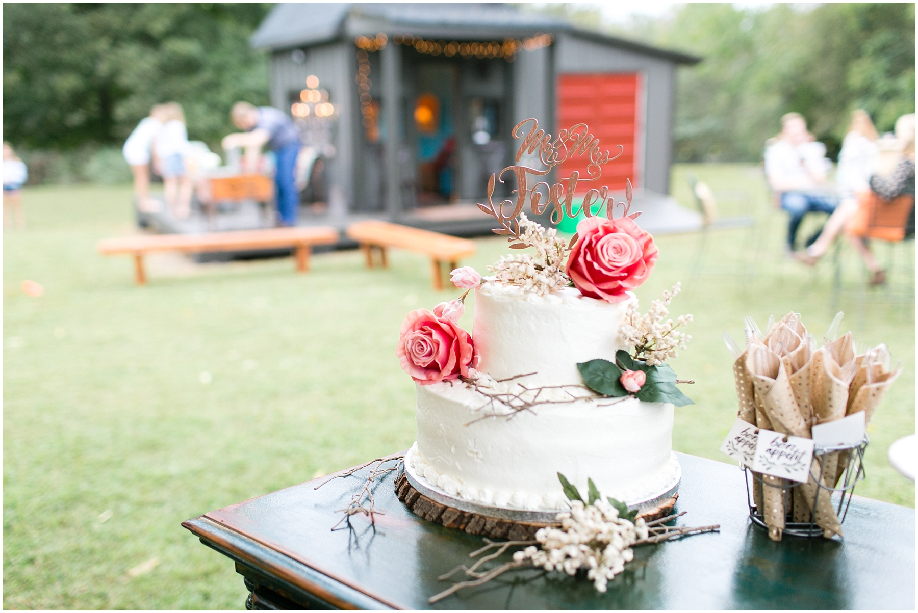 richmond casual backyard wedding reception, wedding cake