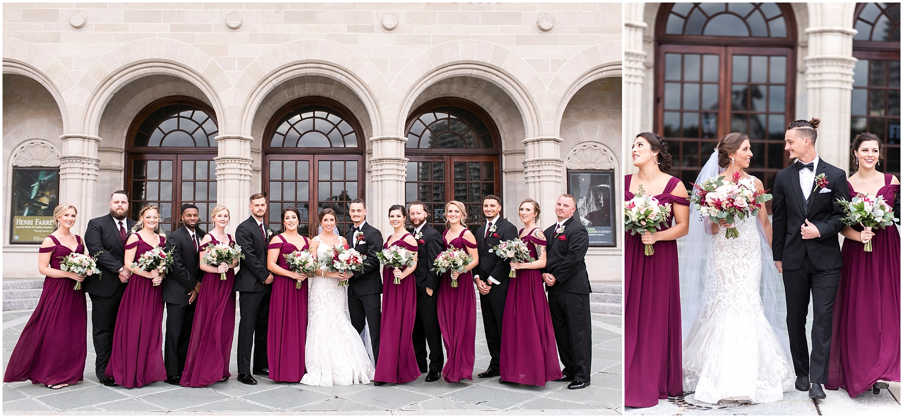 bridal party at chrysler museum wedding, norfolk, virginia, fall wedding
