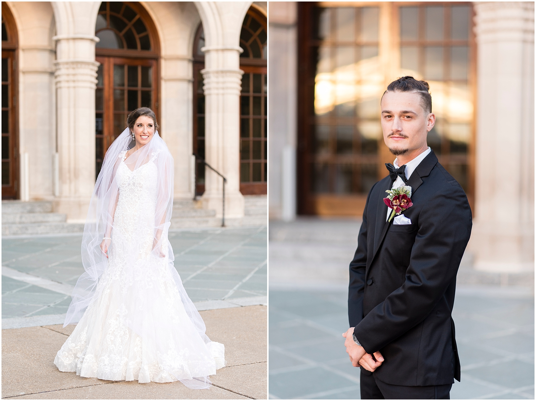 bride and groom at chrysler museum wedding, norfolk, virginia, fall wedding