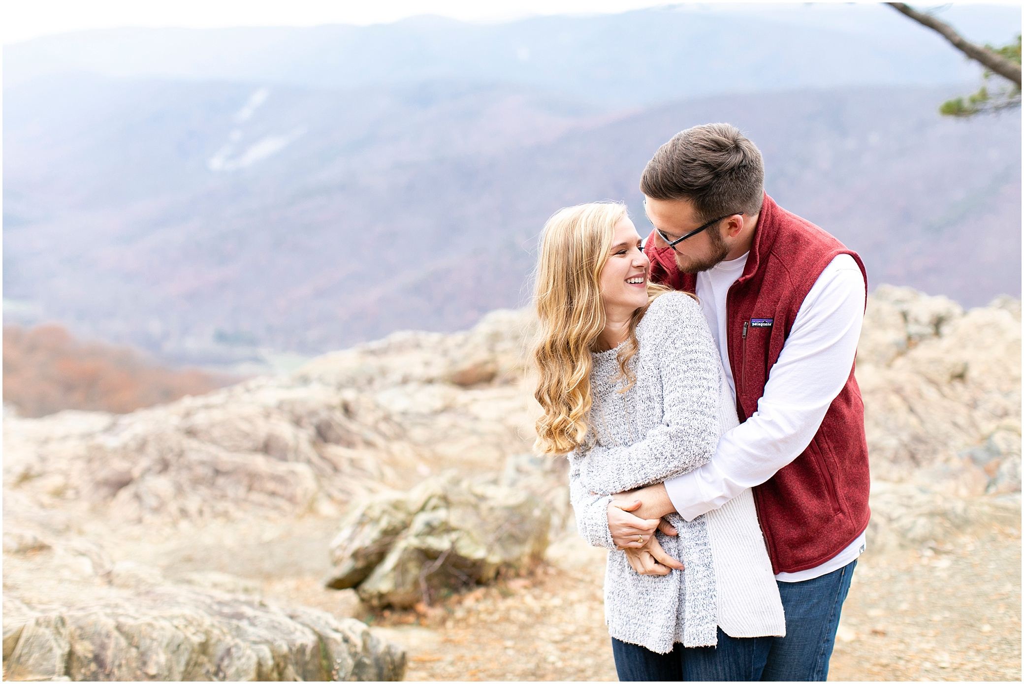 blue ridge parkway engagements, ravens roost candid couple photography, camping couple, hiking couple, adventurous couple, couple in the blue ridge mountains
