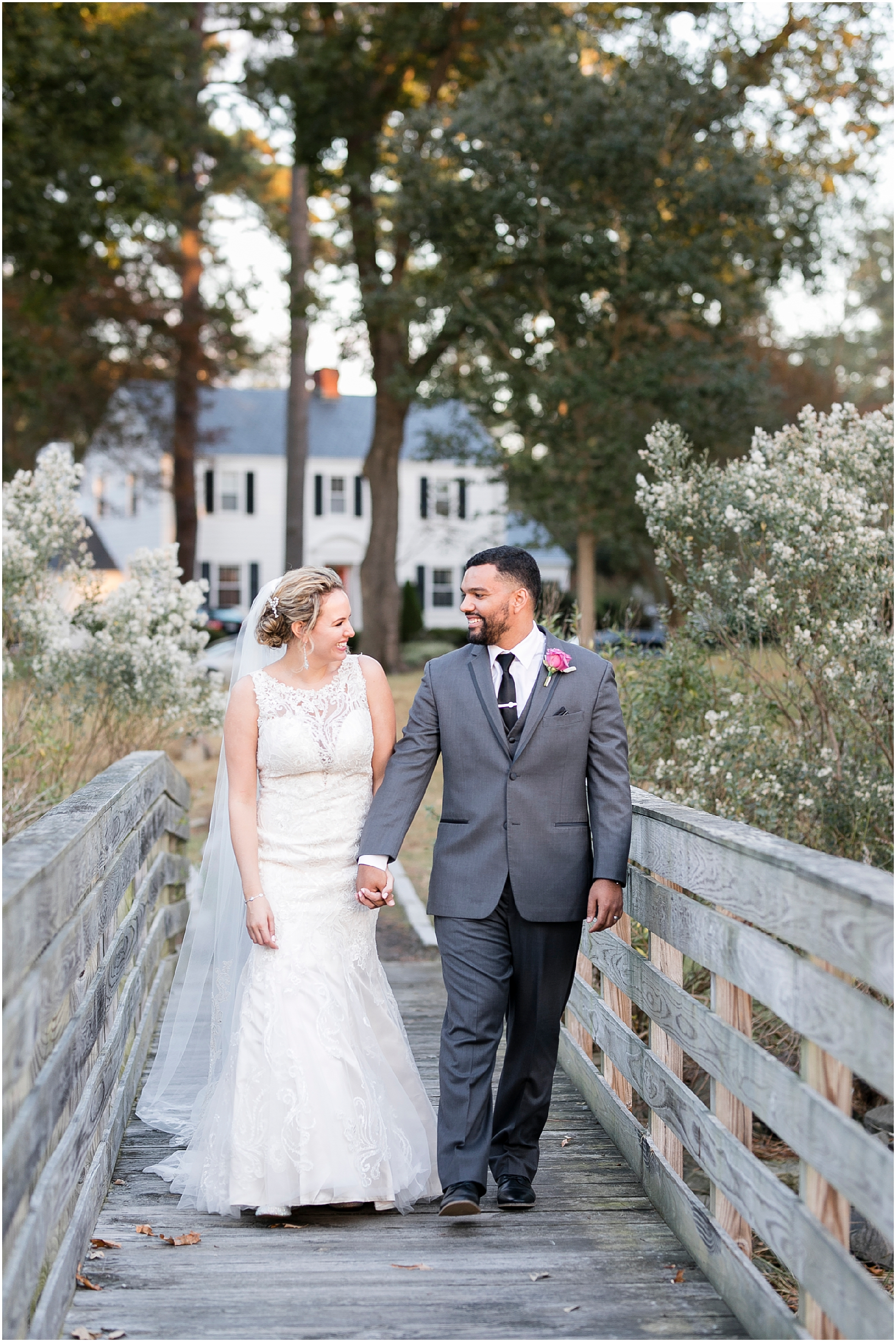 bride and groom candid, the woman's club of Portsmouth wedding in the fall, Carolyn celeste weddings, Kathy forrest design