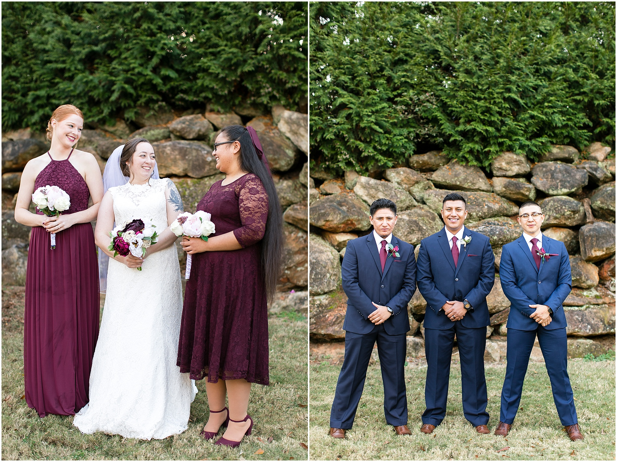 Fall bridal party, Larkin's Sawmill wedding in Greenville, South Carolina,