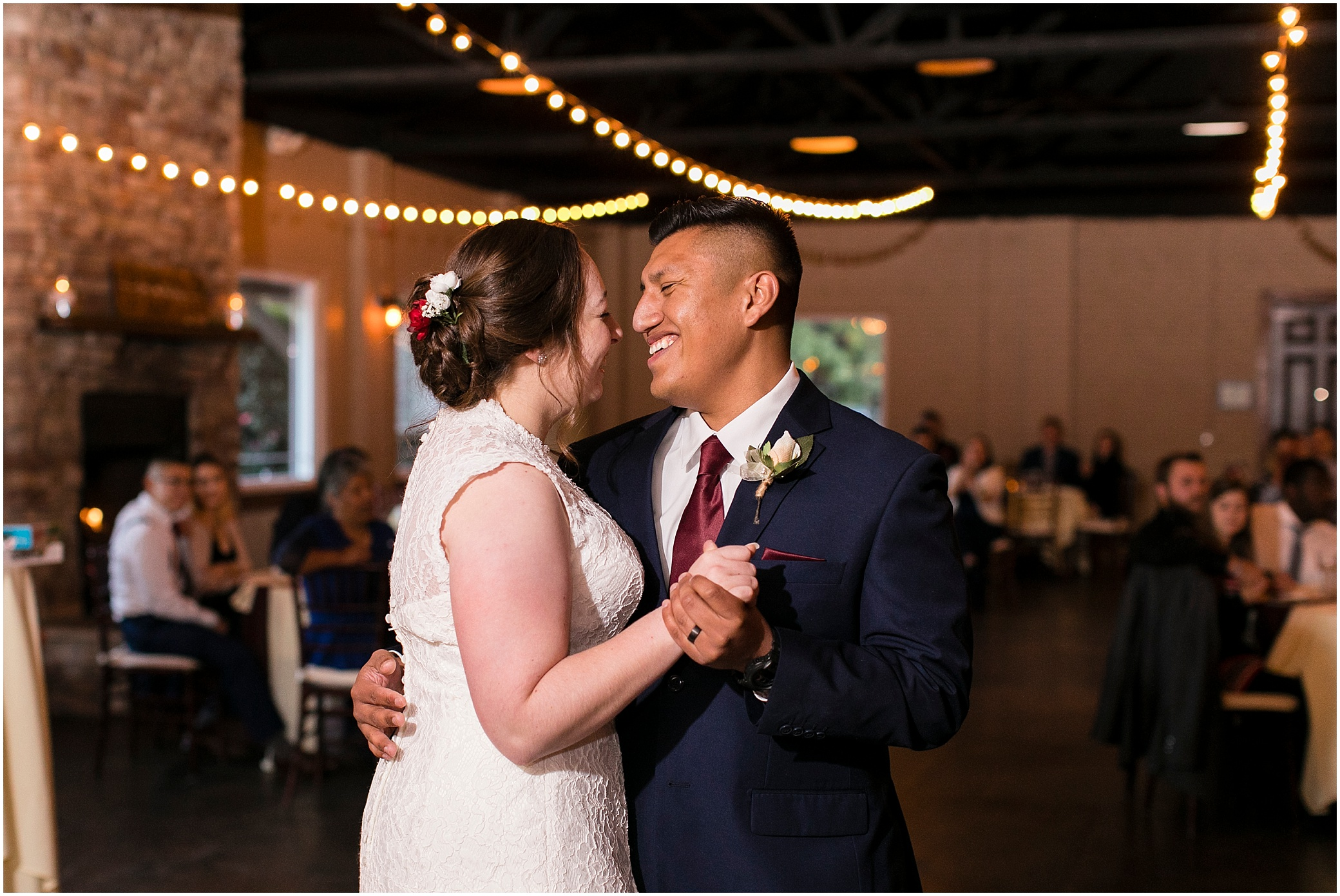 Fall wedding reception at the Larkin's Sawmill in Greenville, South Carolina, destination wedding photographer
