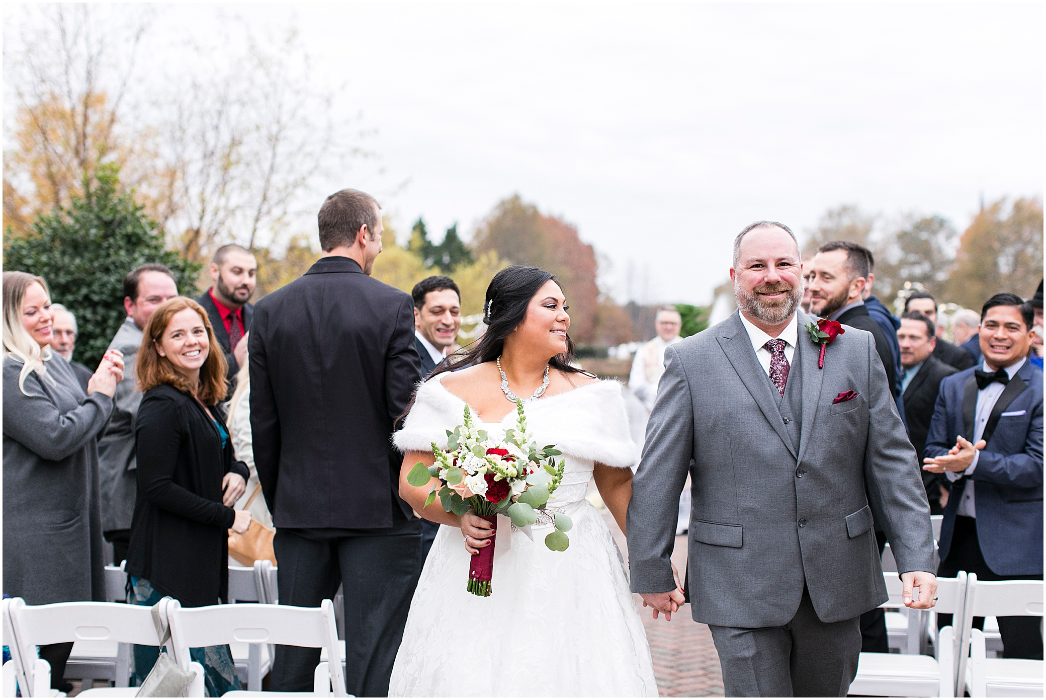 founders inn holiday wedding, Christmas wedding, outdoor winter ceremony