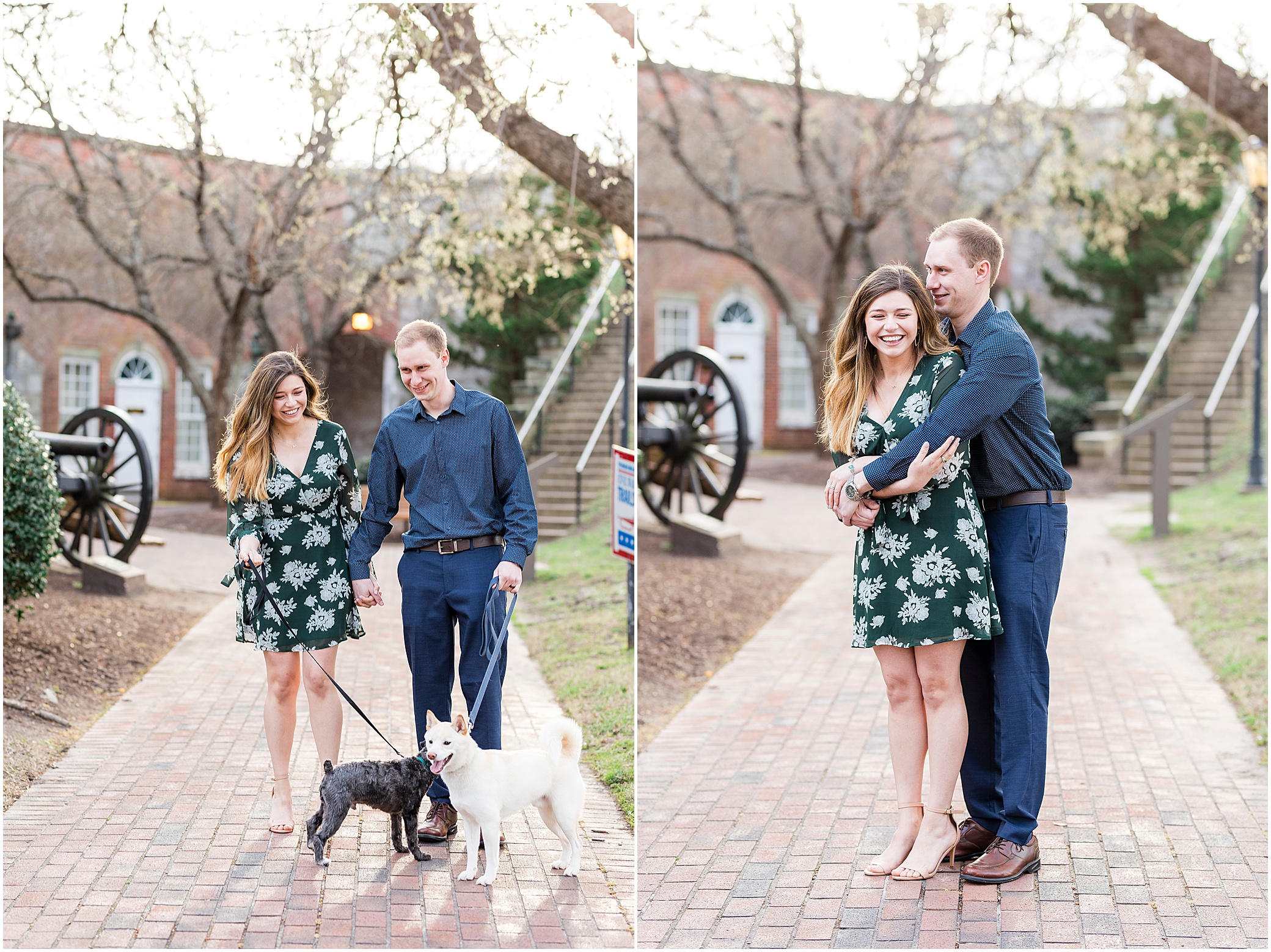 Fort Monroe Anniversary photography, couple walking their dogs