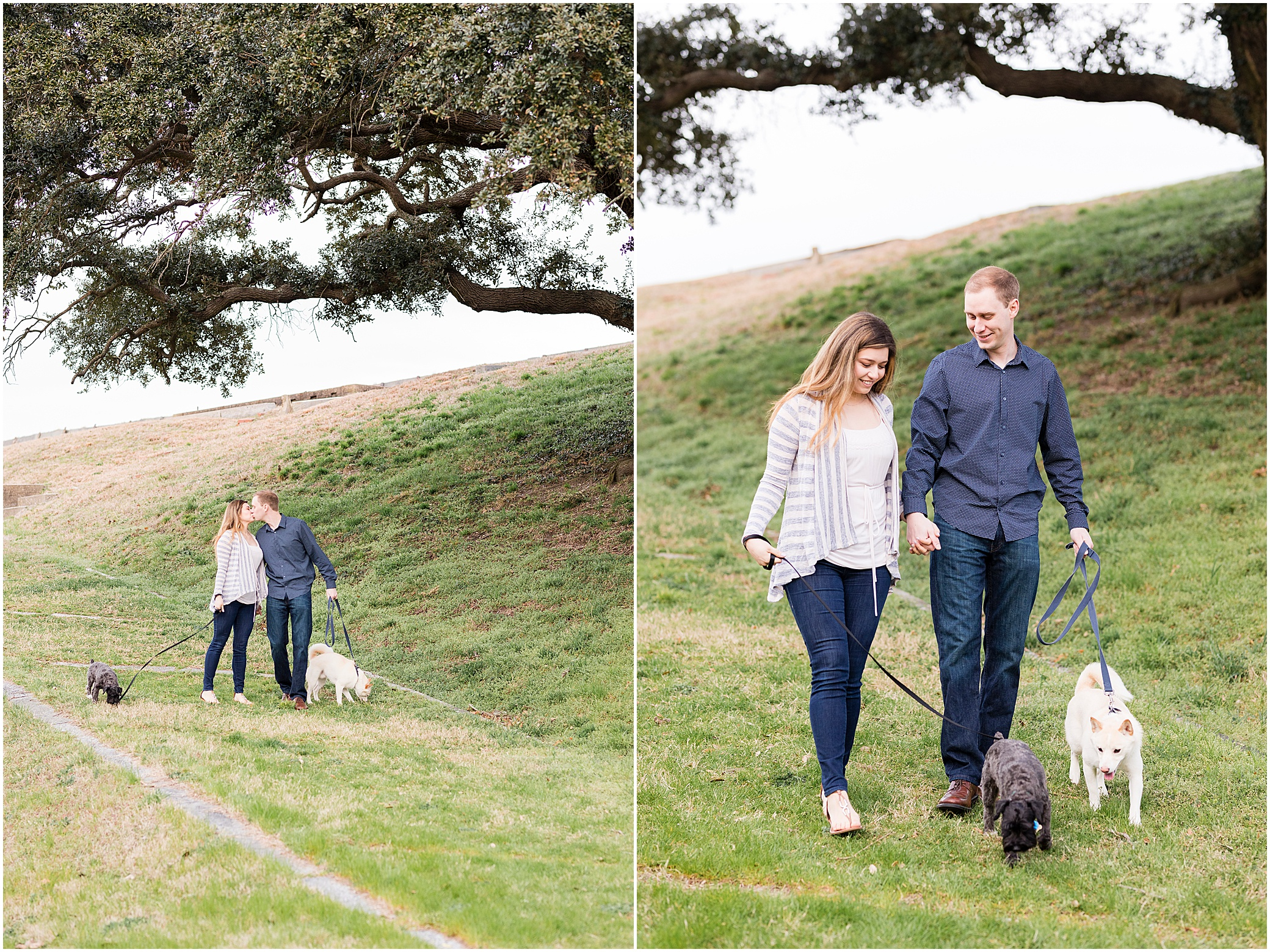 Fort Monroe Anniversary photography, couple walking their dogs up a hill