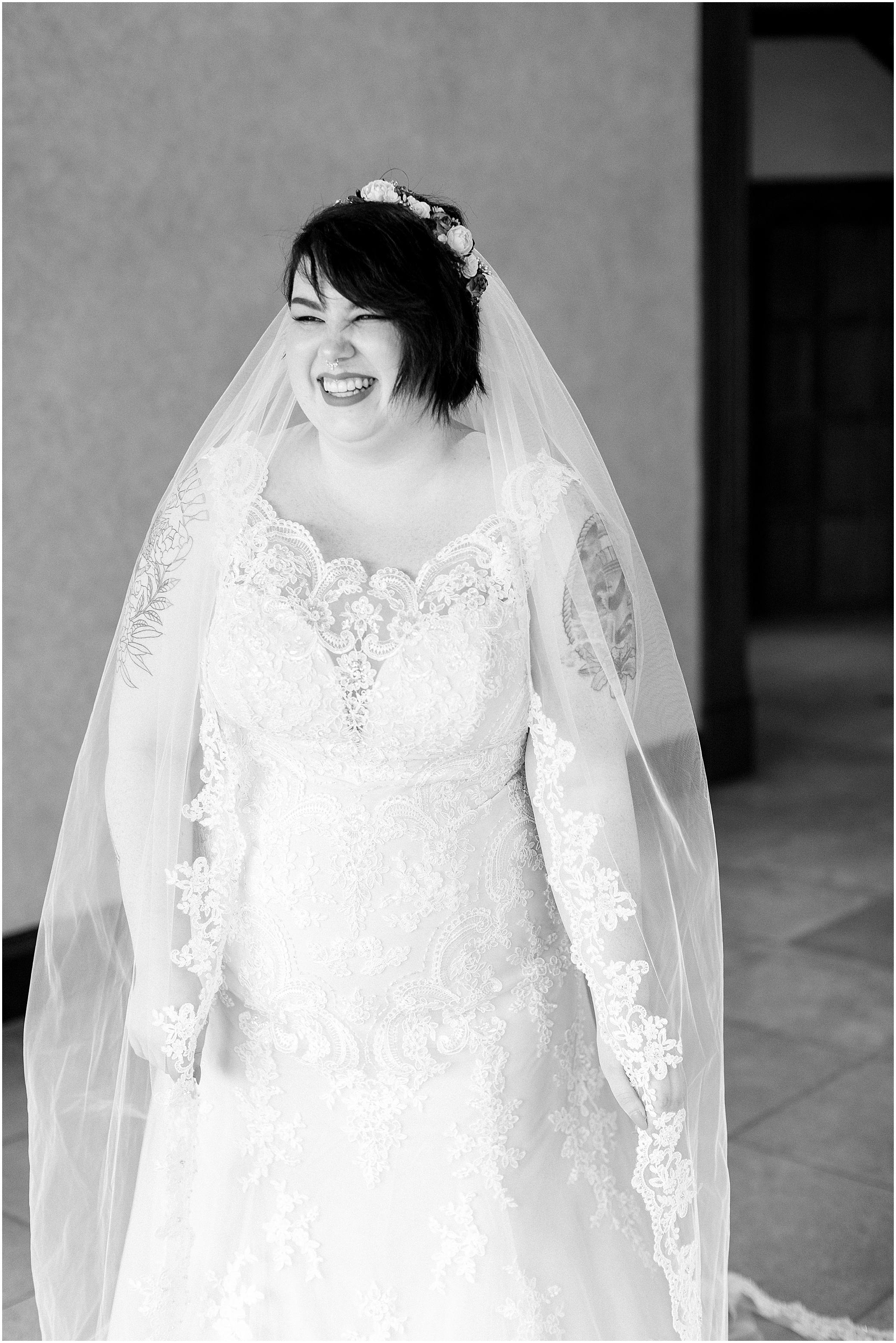 hermitage museum and gardens elopement, studio i do wedding dress, bride getting into wedding dress, vintage bride