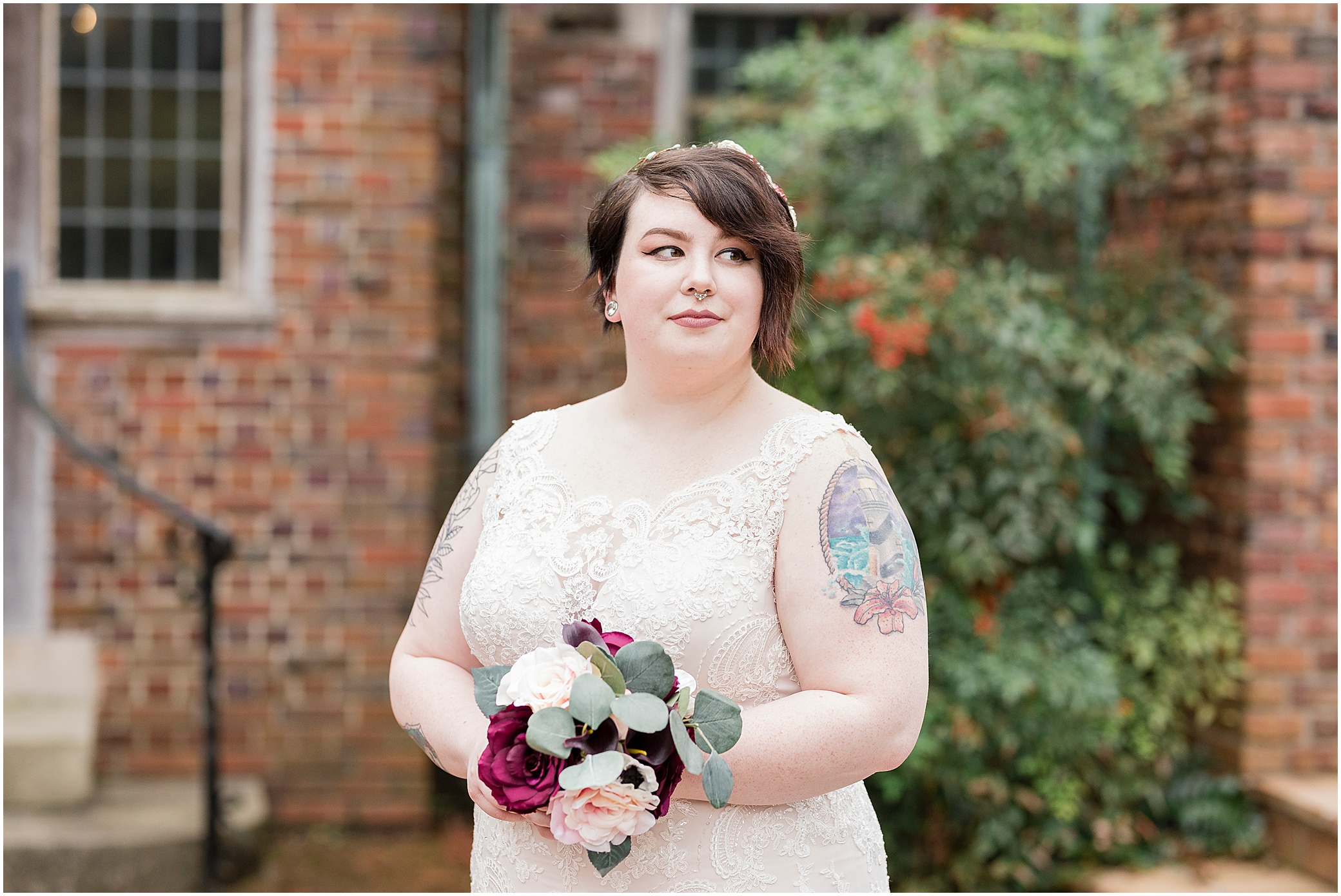 hermitage museum and gardens elopement, studio i do wedding dress, vintage bride and groom candid portraits, museum wedding,
