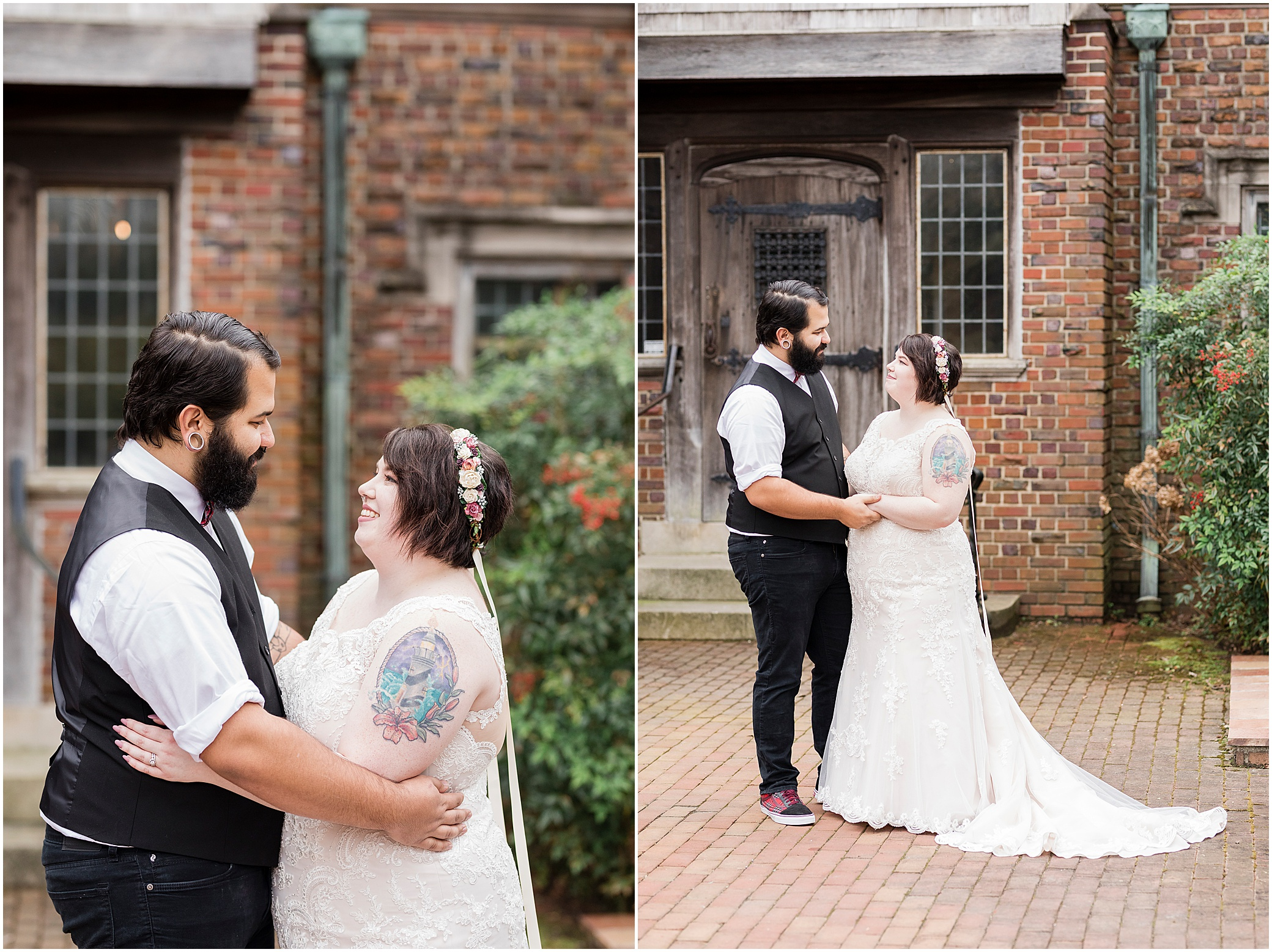 hermitage museum and gardens elopement, studio i do wedding dress, vintage bride and groom candid portraits